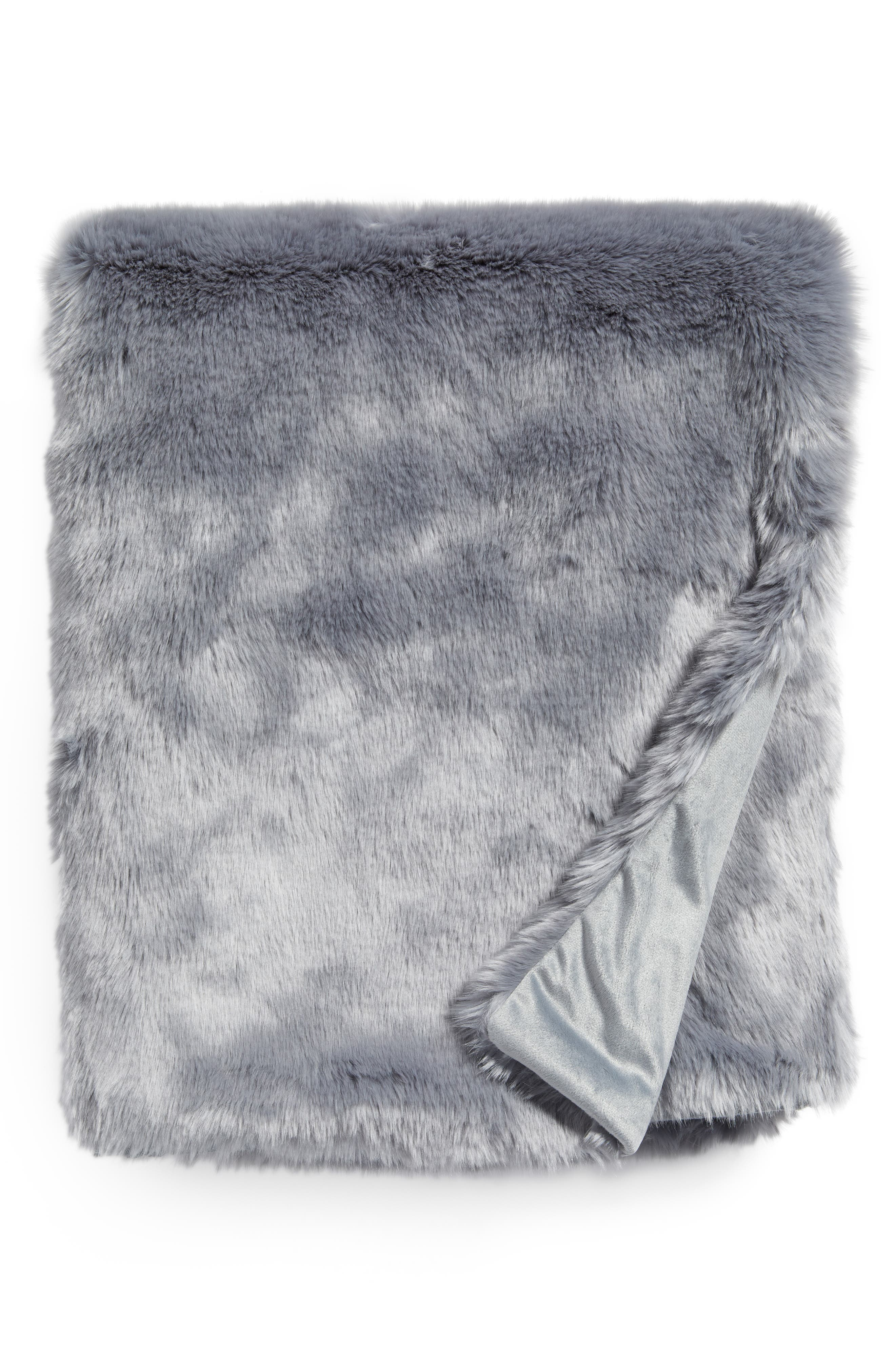 Cuddle Up Faux Fur Throw Blanket,                             Main thumbnail 1, color,                             Blue Tradewinds