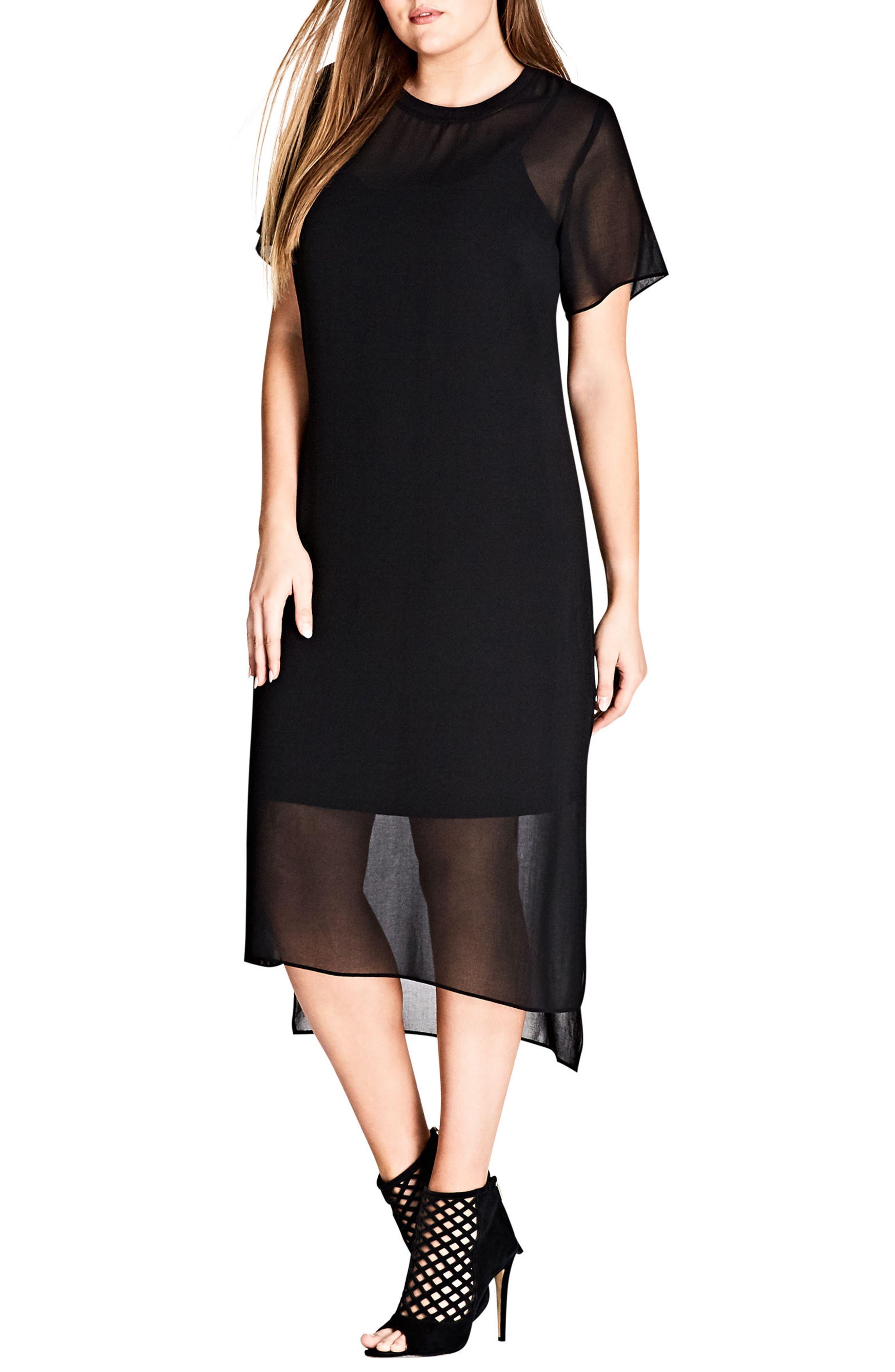 Cool Sheer Midi Dress,                         Main,                         color, Black