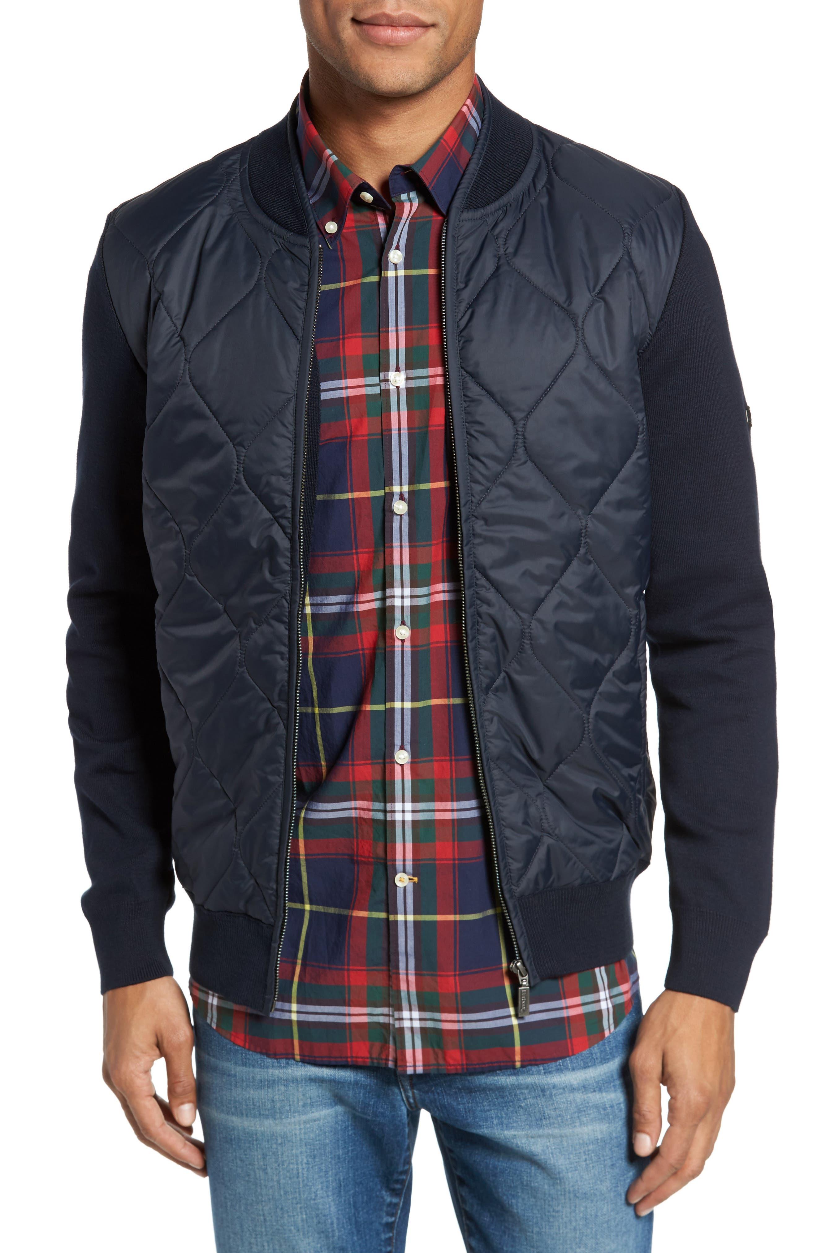 BI Quilt Front Knit Track Jacket,                         Main,                         color, Navy