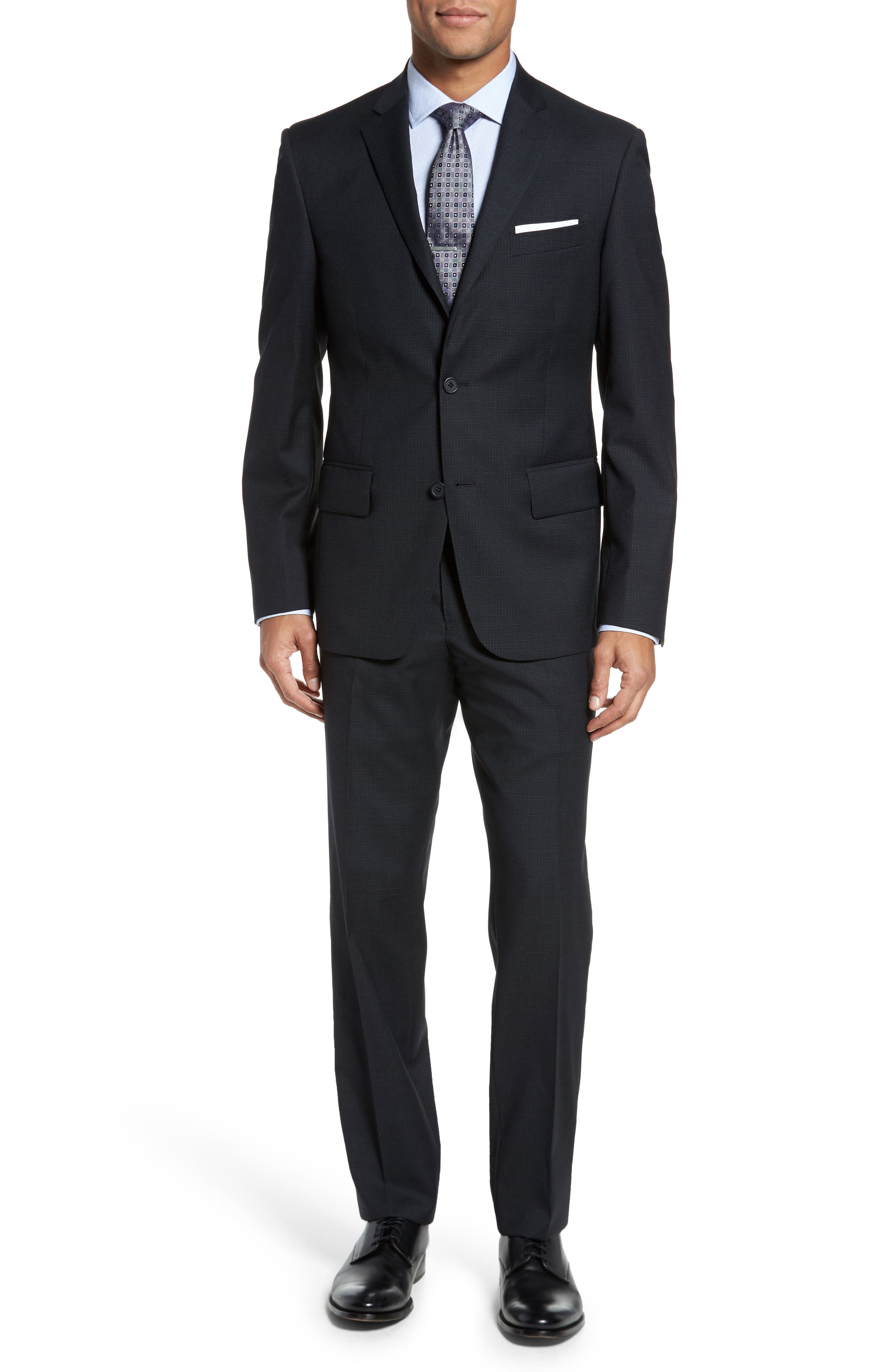 Classic Fit Check Wool Suit,                         Main,                         color, Charcoal