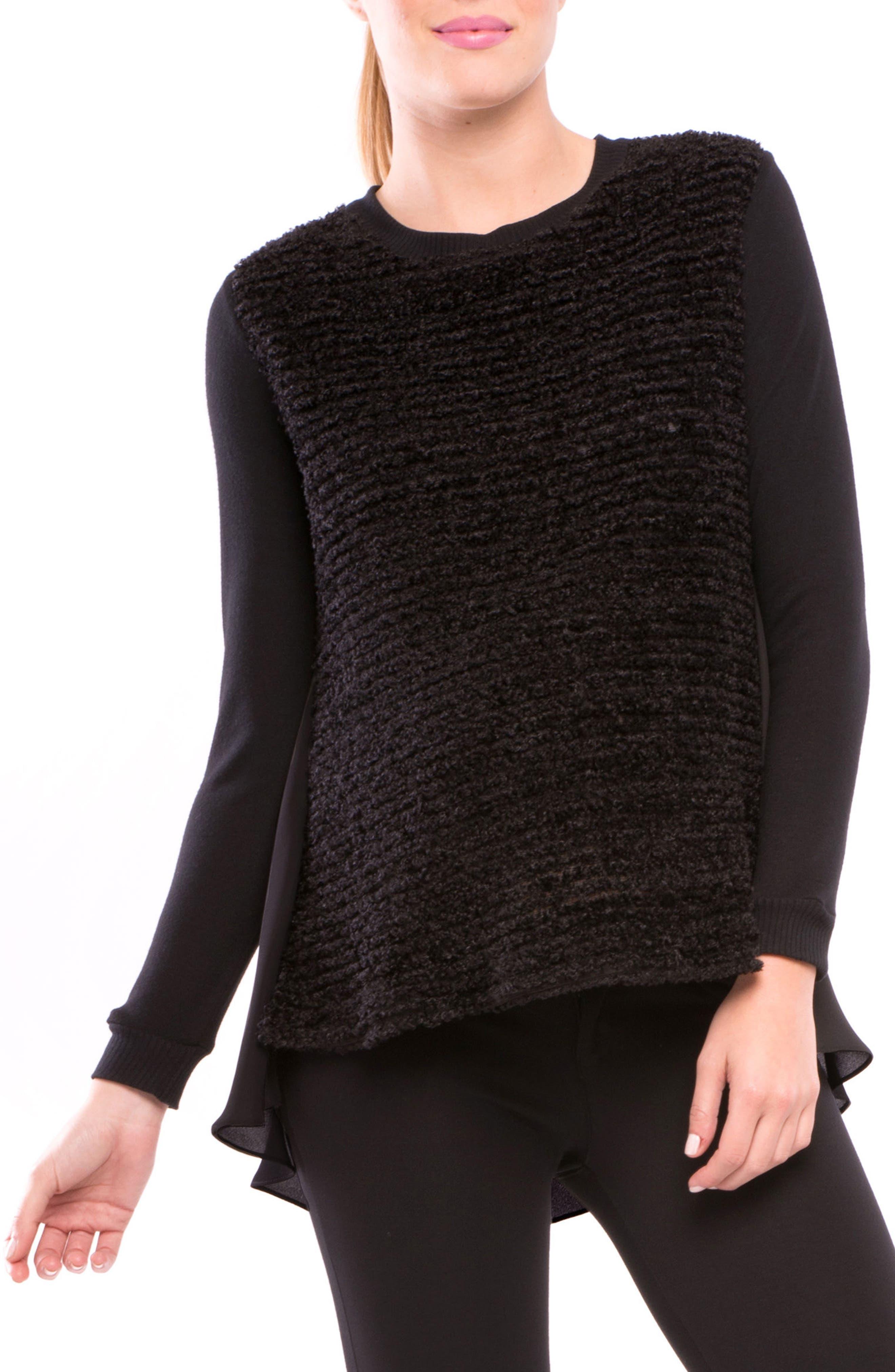 Bouclé Front High/Low Maternity Top,                         Main,                         color, Black