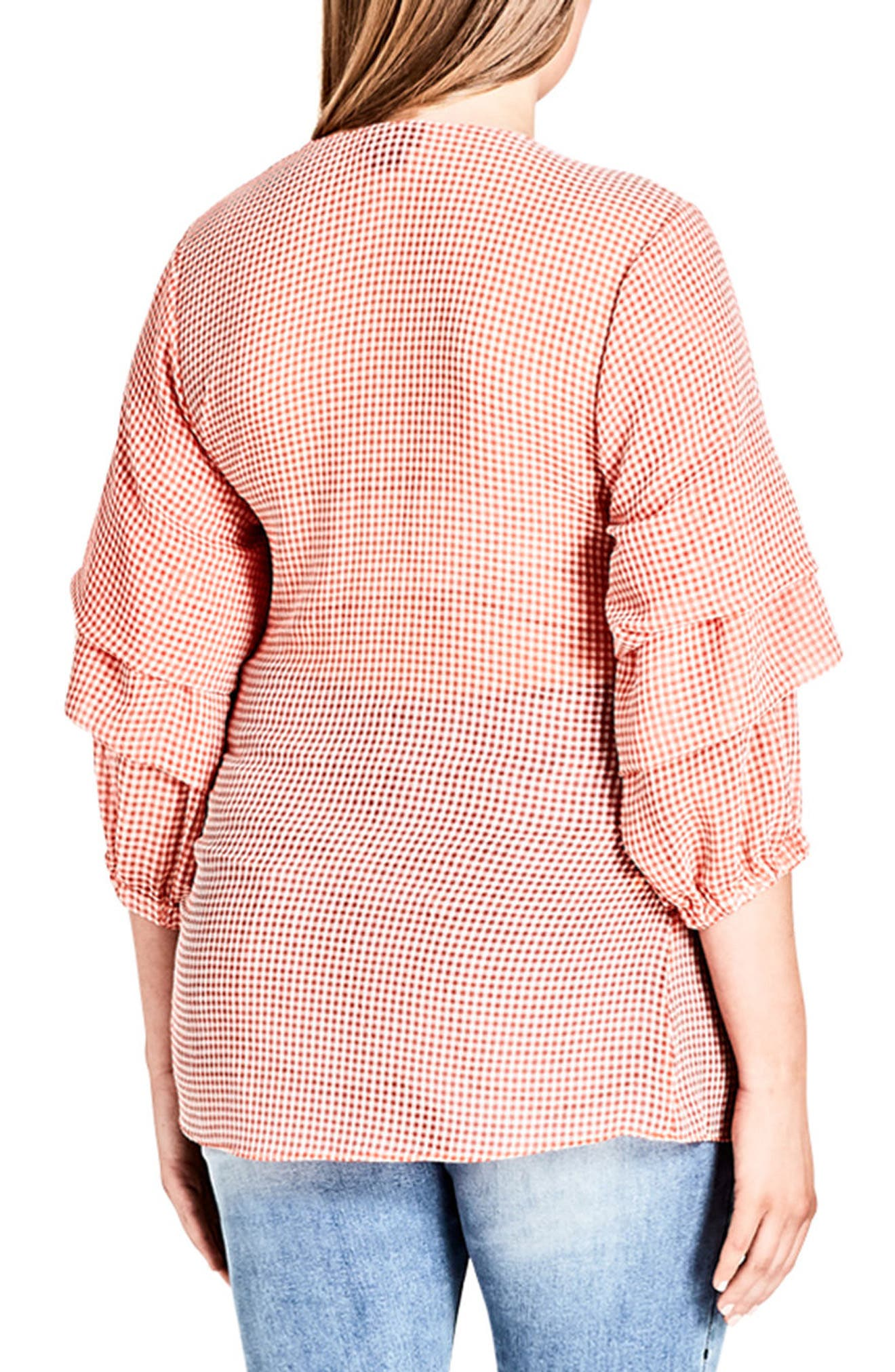 Alternate Image 2  - City Chic My Desire Check Print Wrap Top (Plus Size)