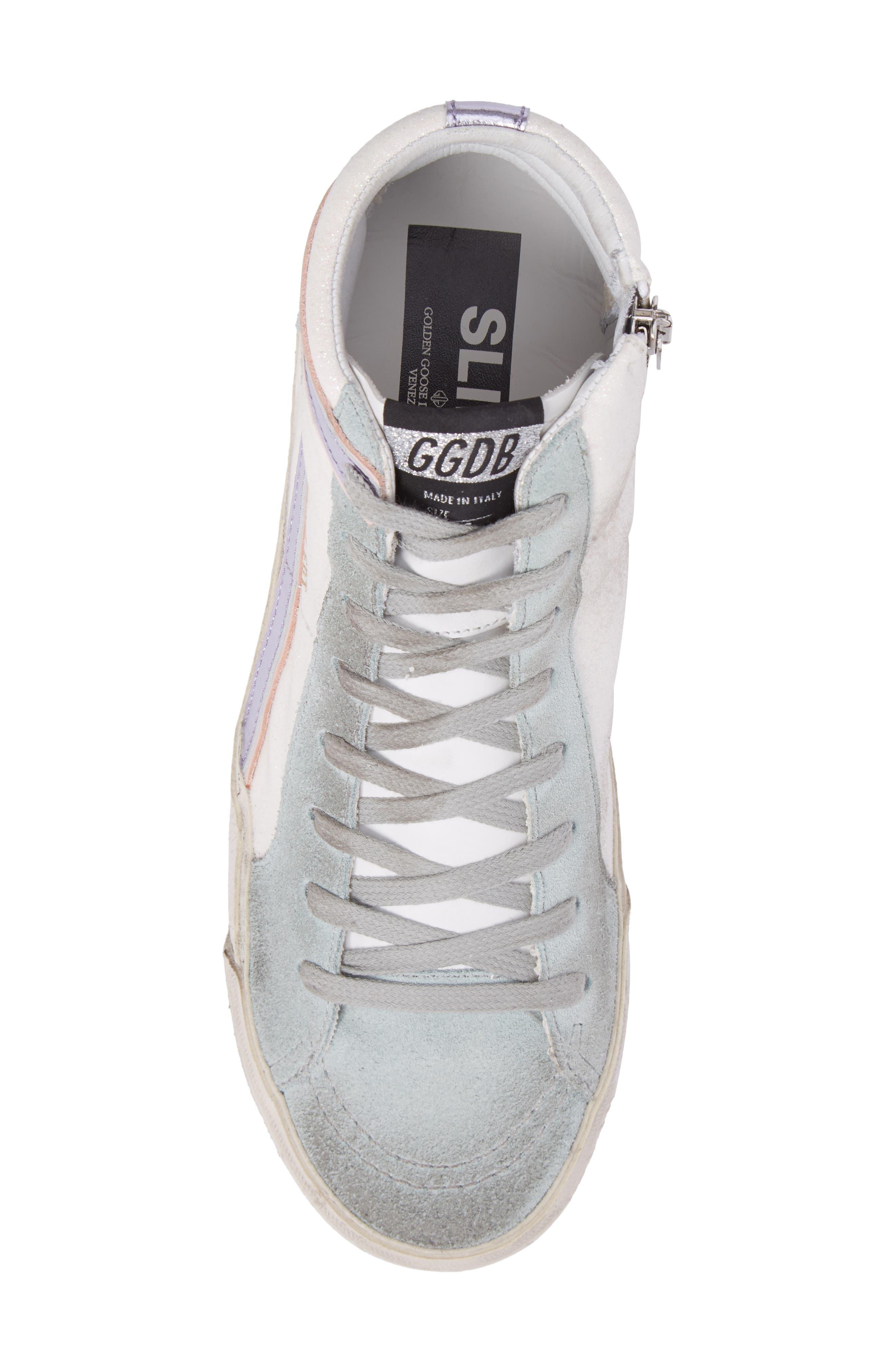 Slide High Top Sneaker,                             Alternate thumbnail 5, color,                             White/ Mint Green