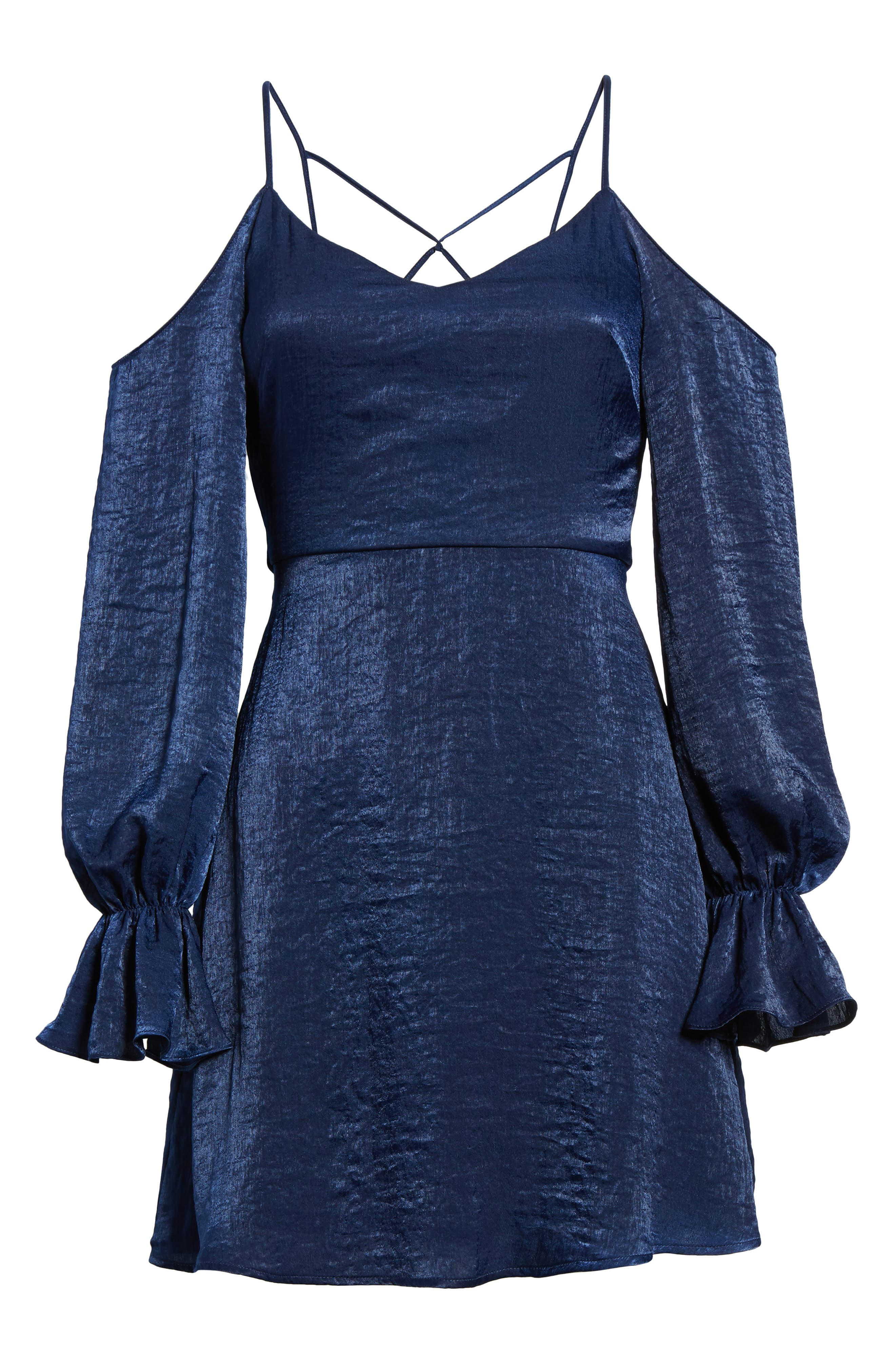 Satin Cold Shoulder Dress,                             Alternate thumbnail 6, color,                             Navy