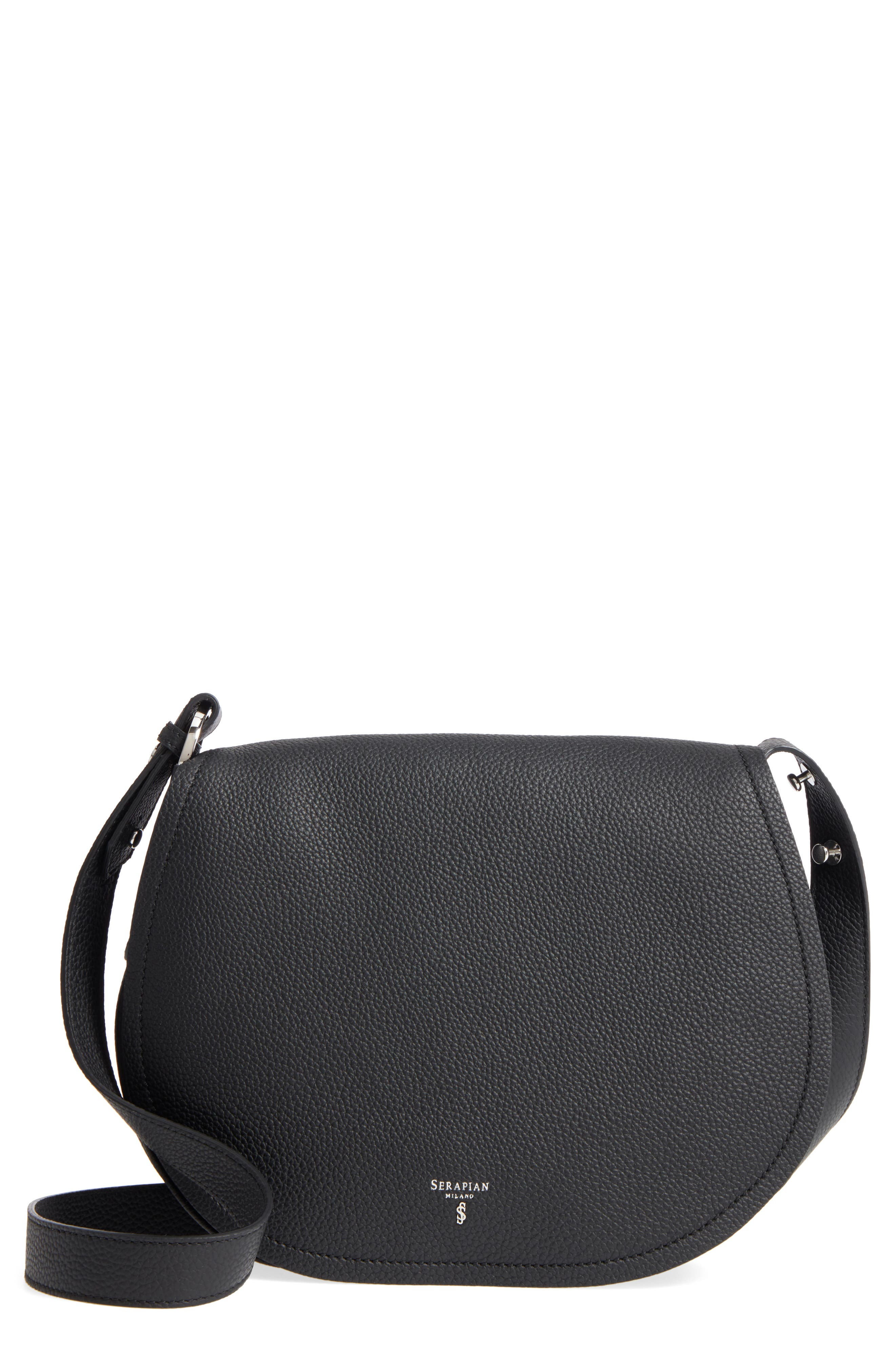 Small Valeria Leather Crossbody Bag,                             Main thumbnail 1, color,                             Black