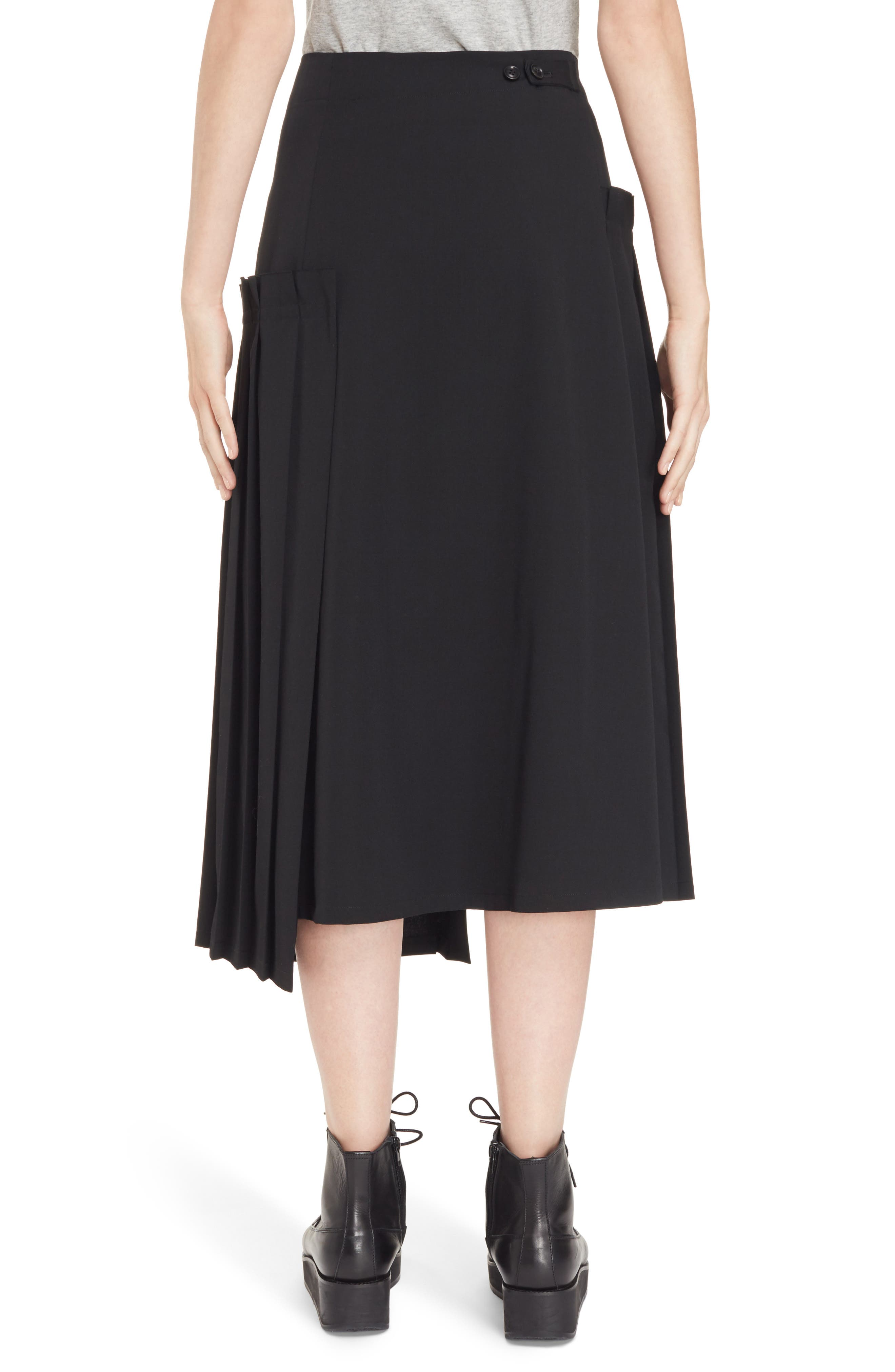 Pleated Button Front Wool Skirt,                             Alternate thumbnail 2, color,                             Black