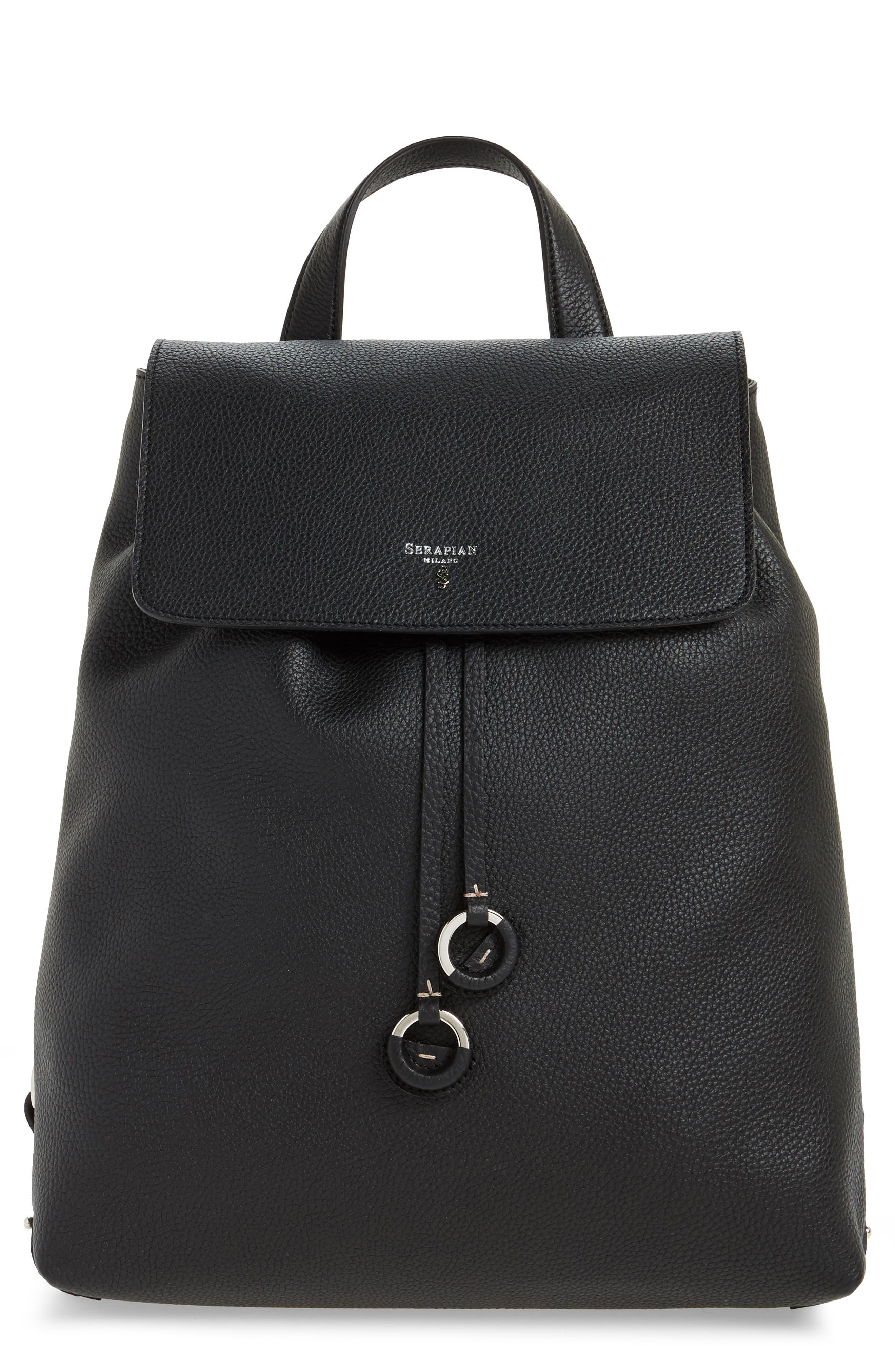 Carmen Cachemire Leather Backpack,                             Main thumbnail 1, color,                             Black