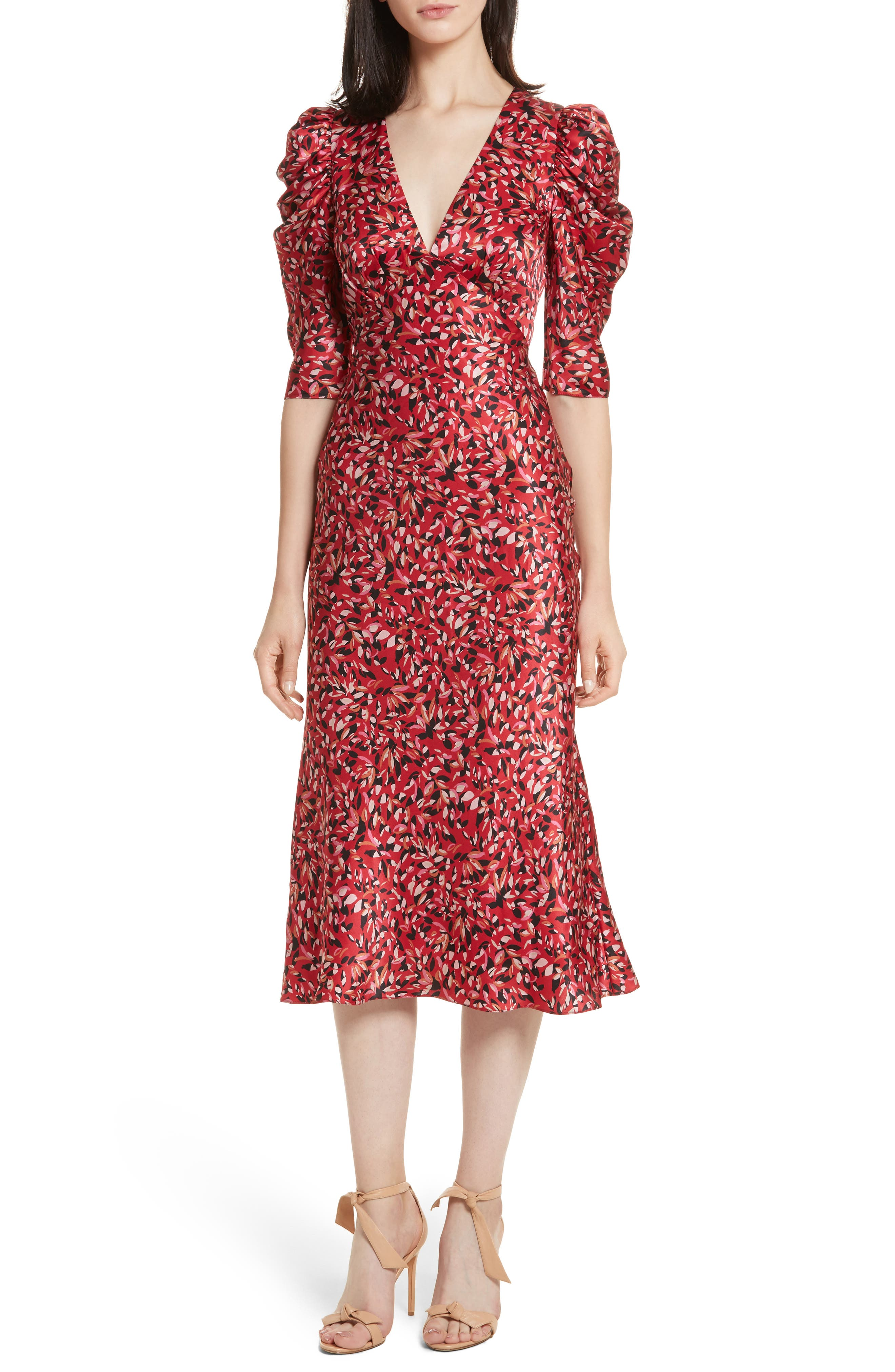 Colette Puff Sleeve Silk Dress,                         Main,                         color, Scarlet Frisson