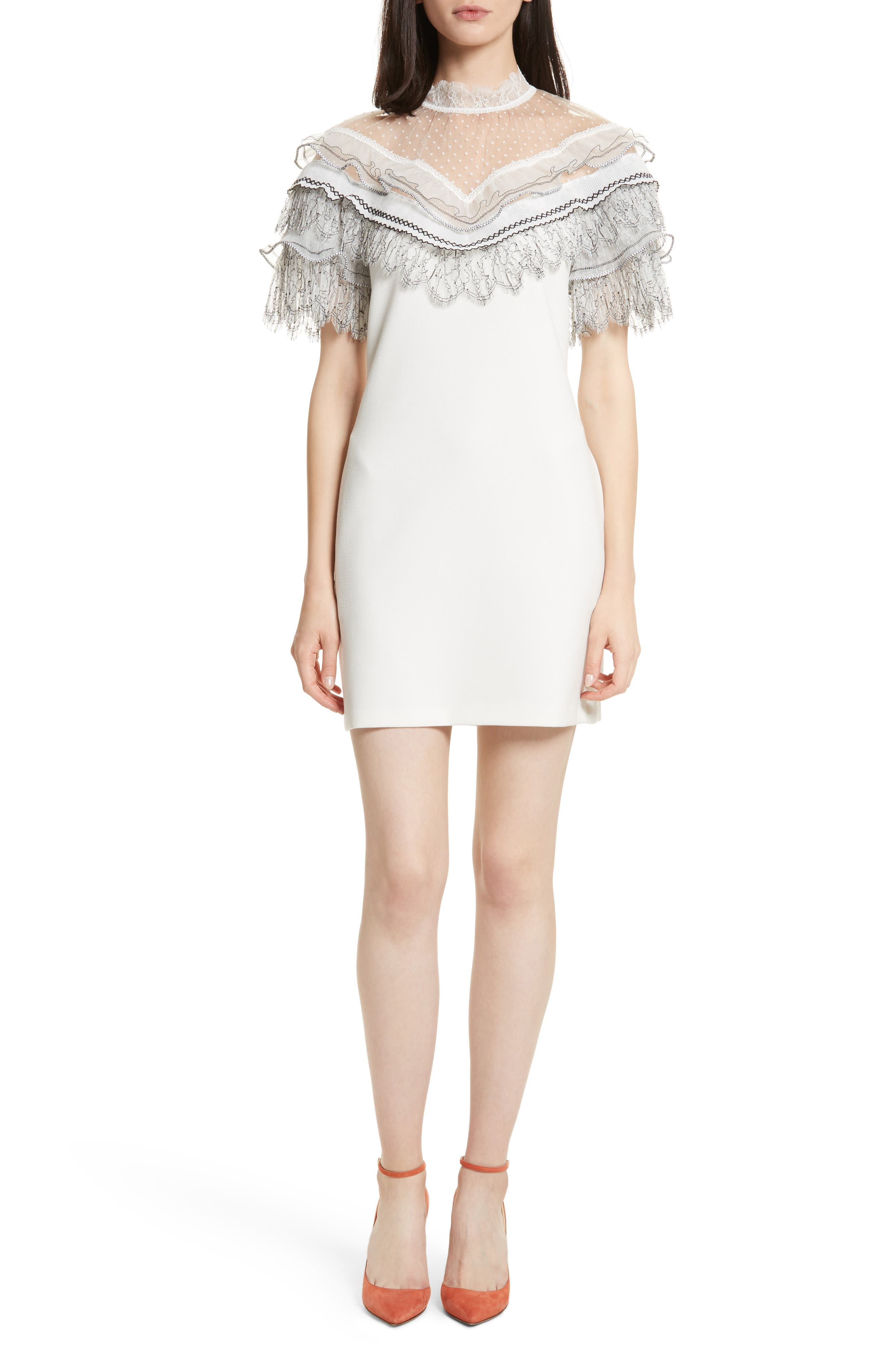 Pleated Lace Trim Minidress,                         Main,                         color, Ivory