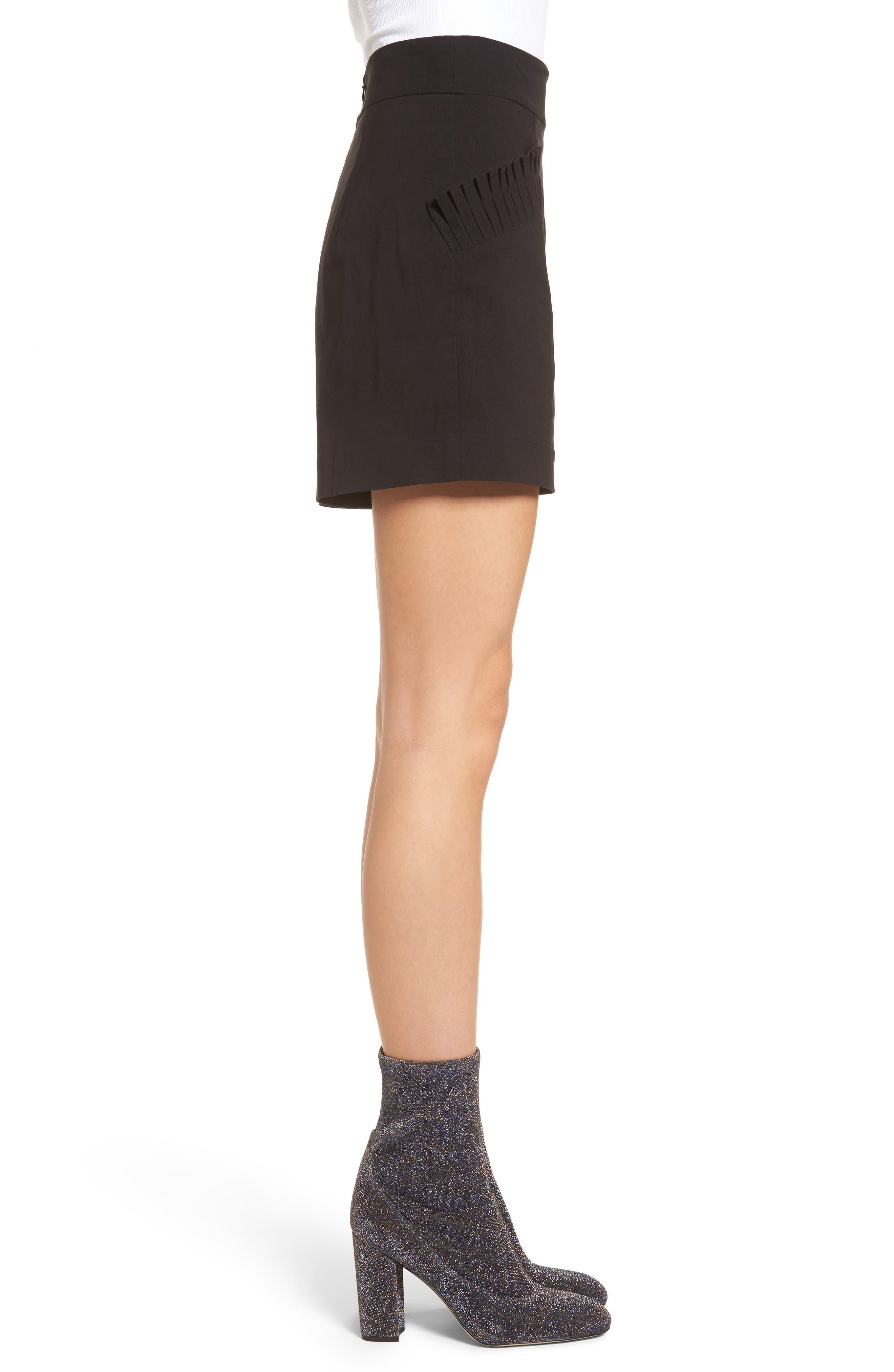 Pleat Trim High Waist Shorts,                             Alternate thumbnail 3, color,                             Black