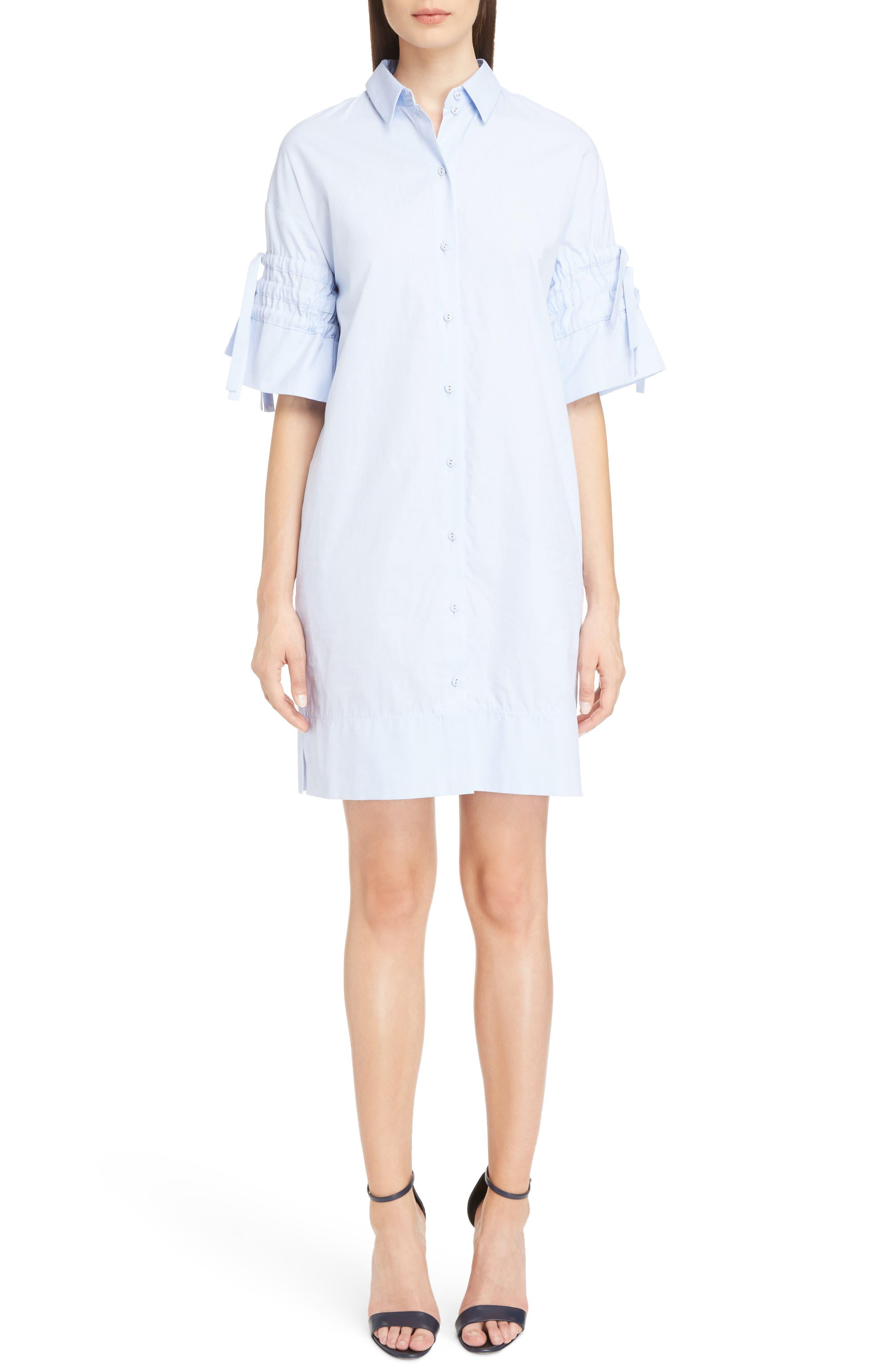 Victoria Victoria Beckham Gathered Sleeve Shirtdress,                         Main,                         color, Oxford Blue