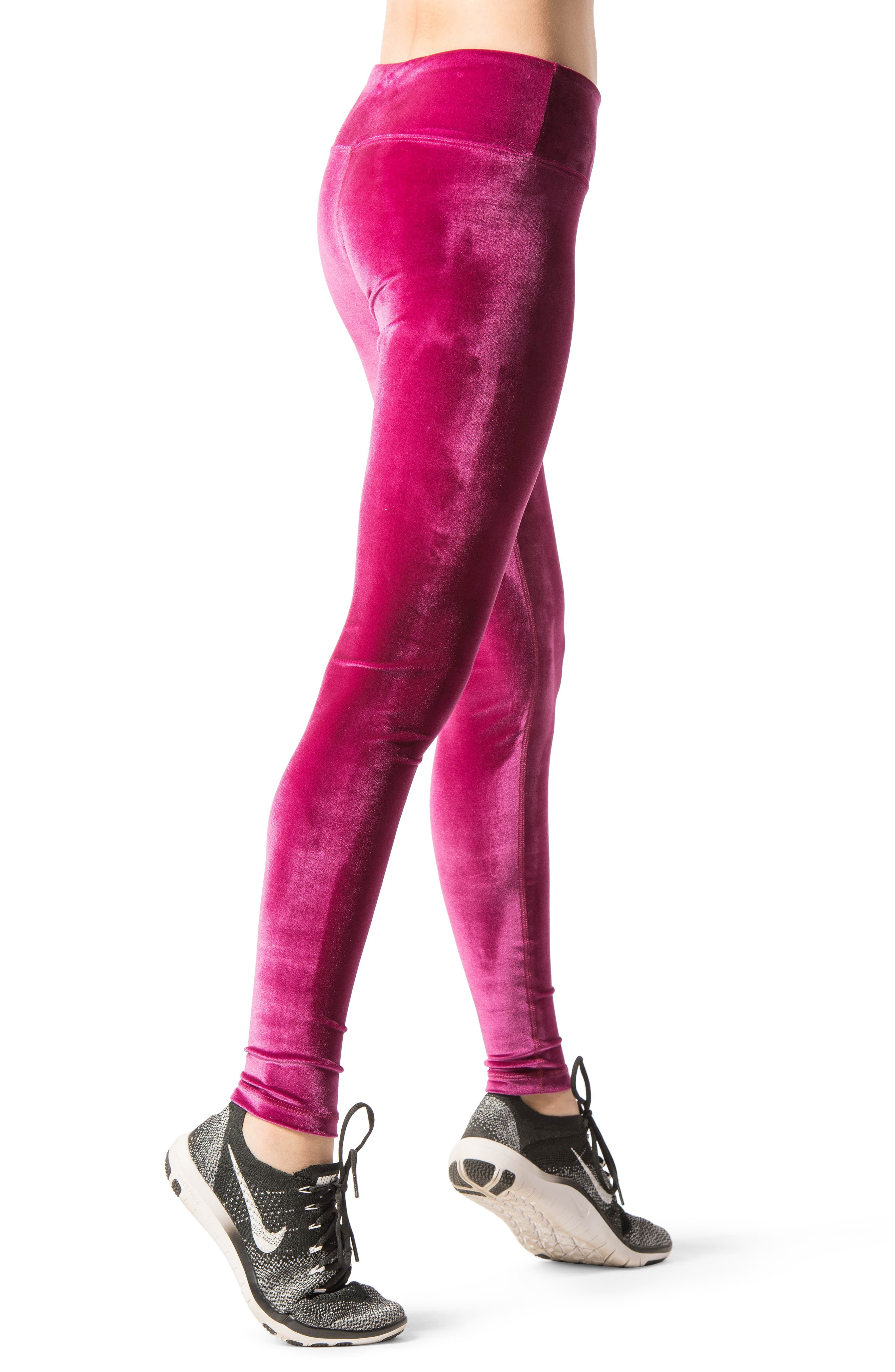 Velour Leggings,                             Alternate thumbnail 2, color,                             Wild Rose