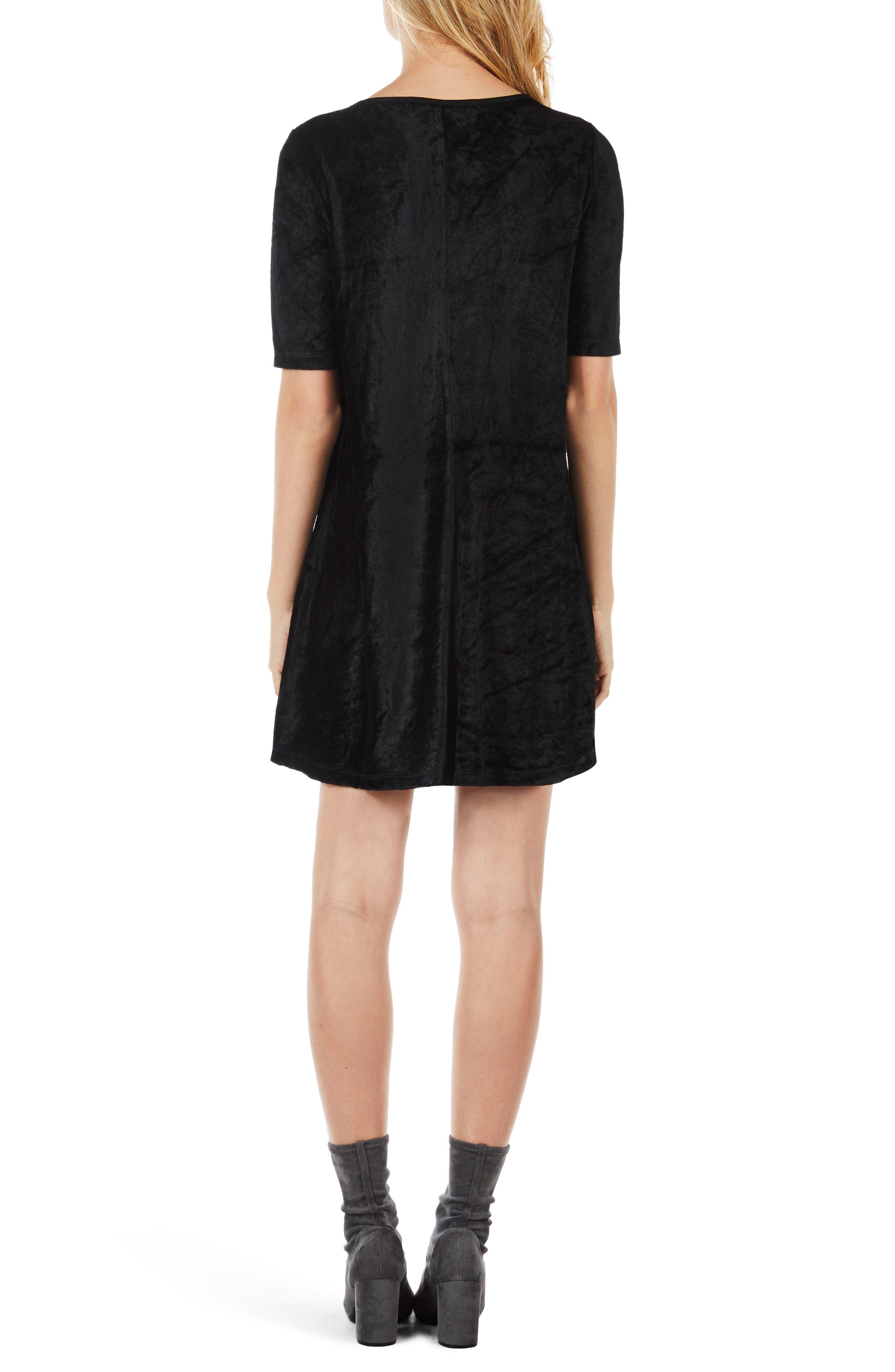 Elbow Sleeve Velvet Shift Dress,                             Alternate thumbnail 2, color,                             Black