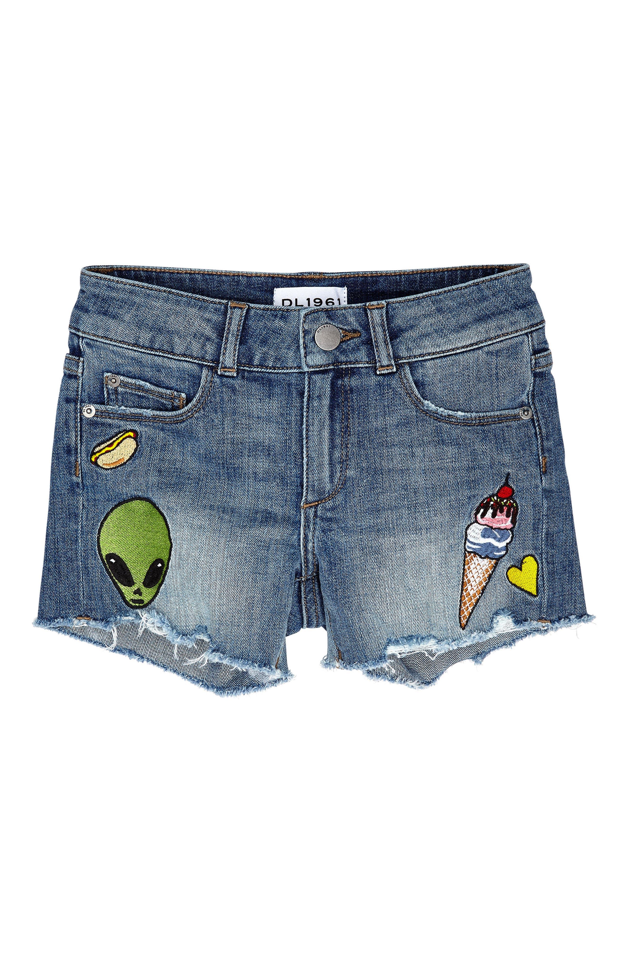 Patchwork Cutout Denim Shorts,                         Main,                         color, Almost Famous