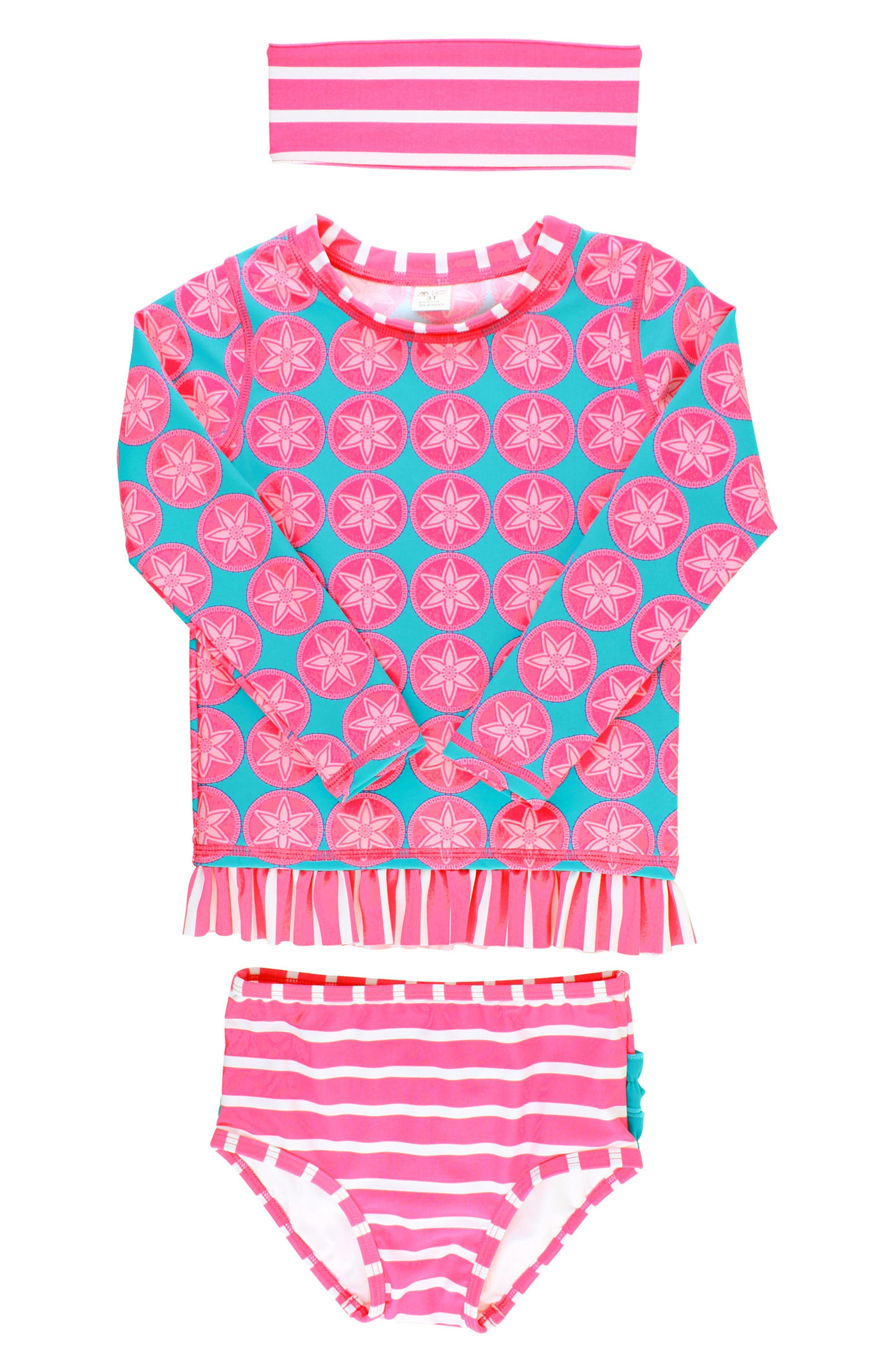 Main Image - RuffleButts Two-Piece Rashguard Swimsuit & Head Wrap Set (Baby Girls)
