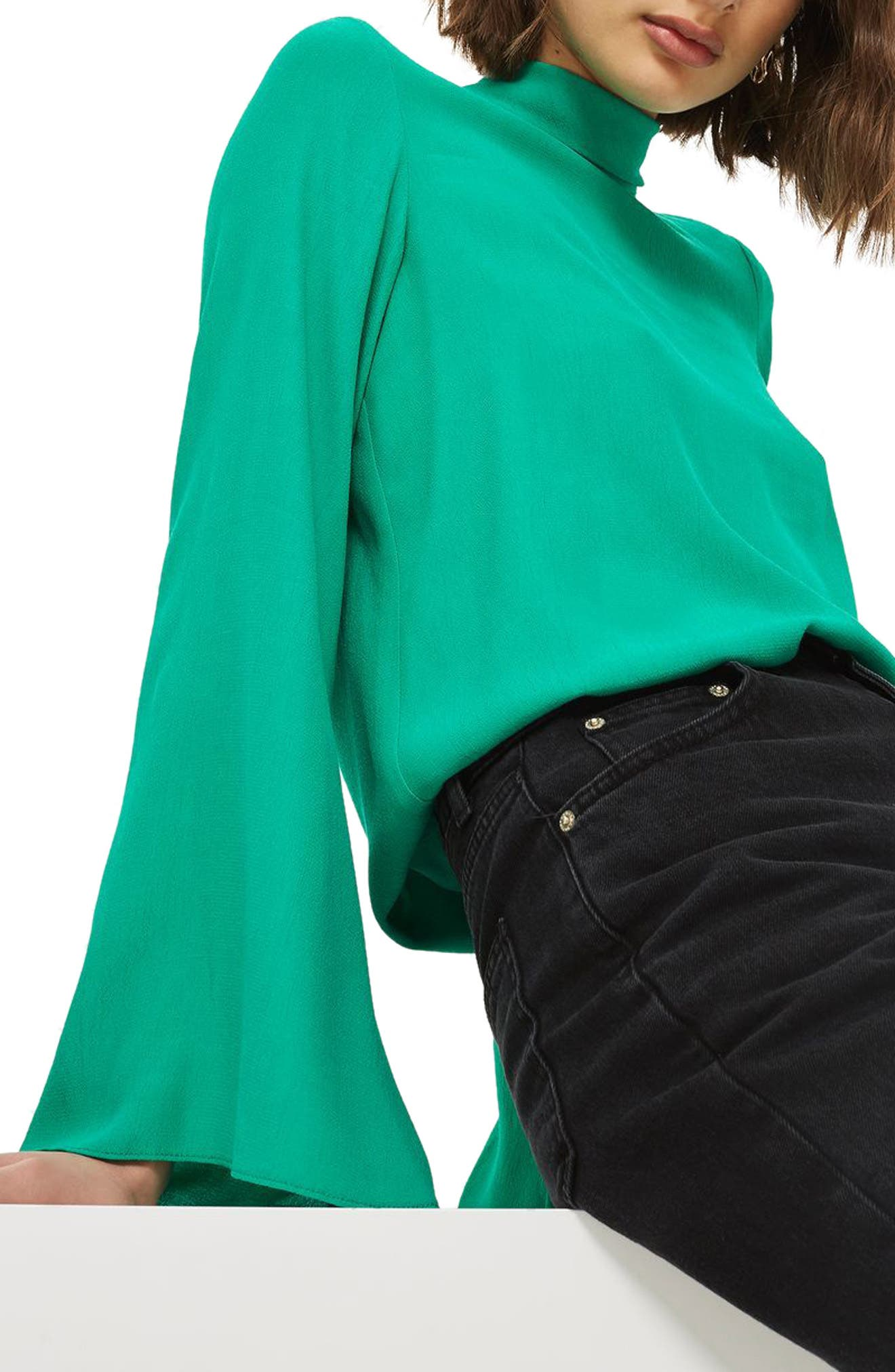 Tie Back Roll Neck Top,                         Main,                         color, Bright Green