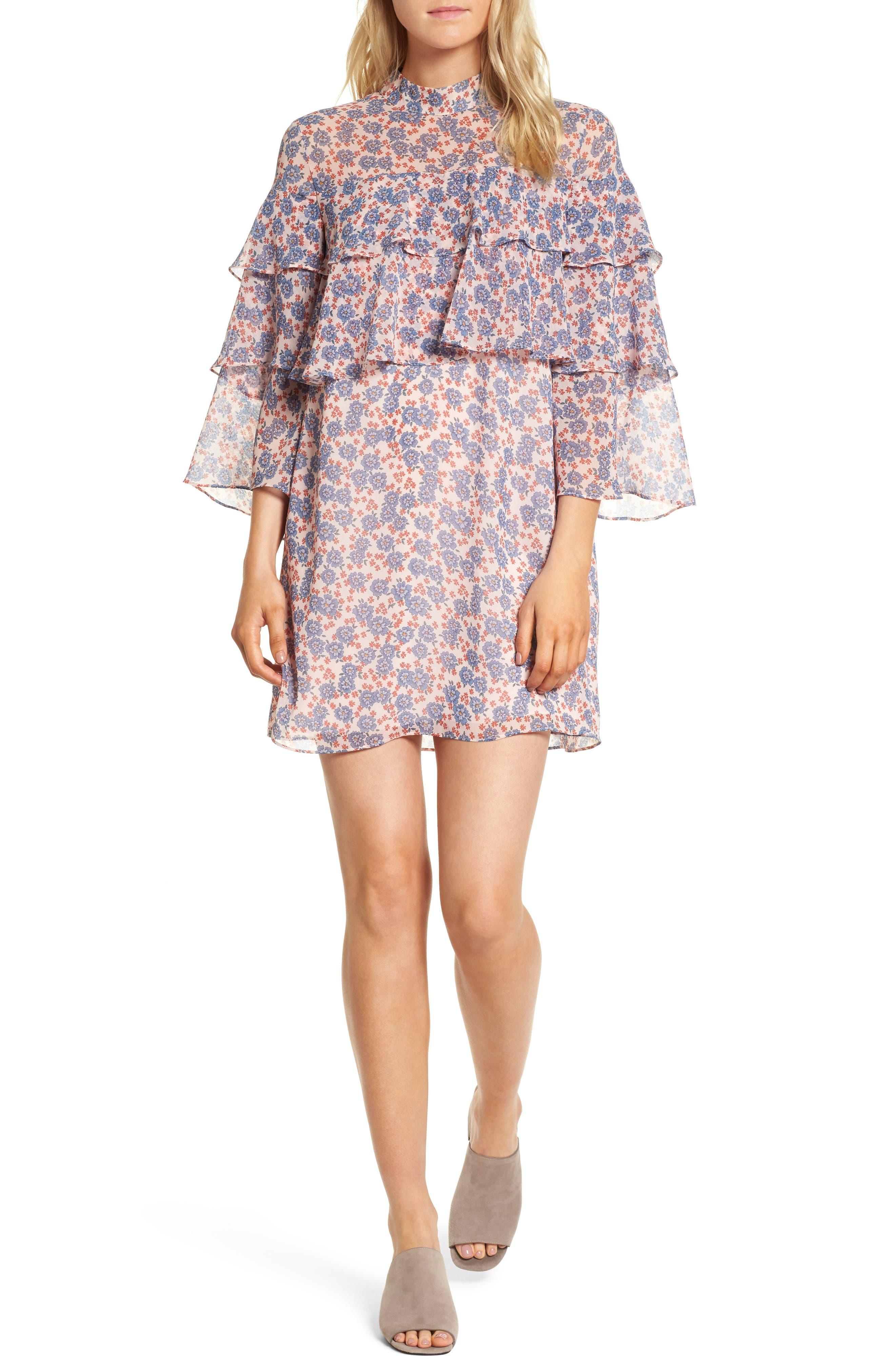 Darcy Ruffle Dress,                             Main thumbnail 1, color,                             Pink Multi