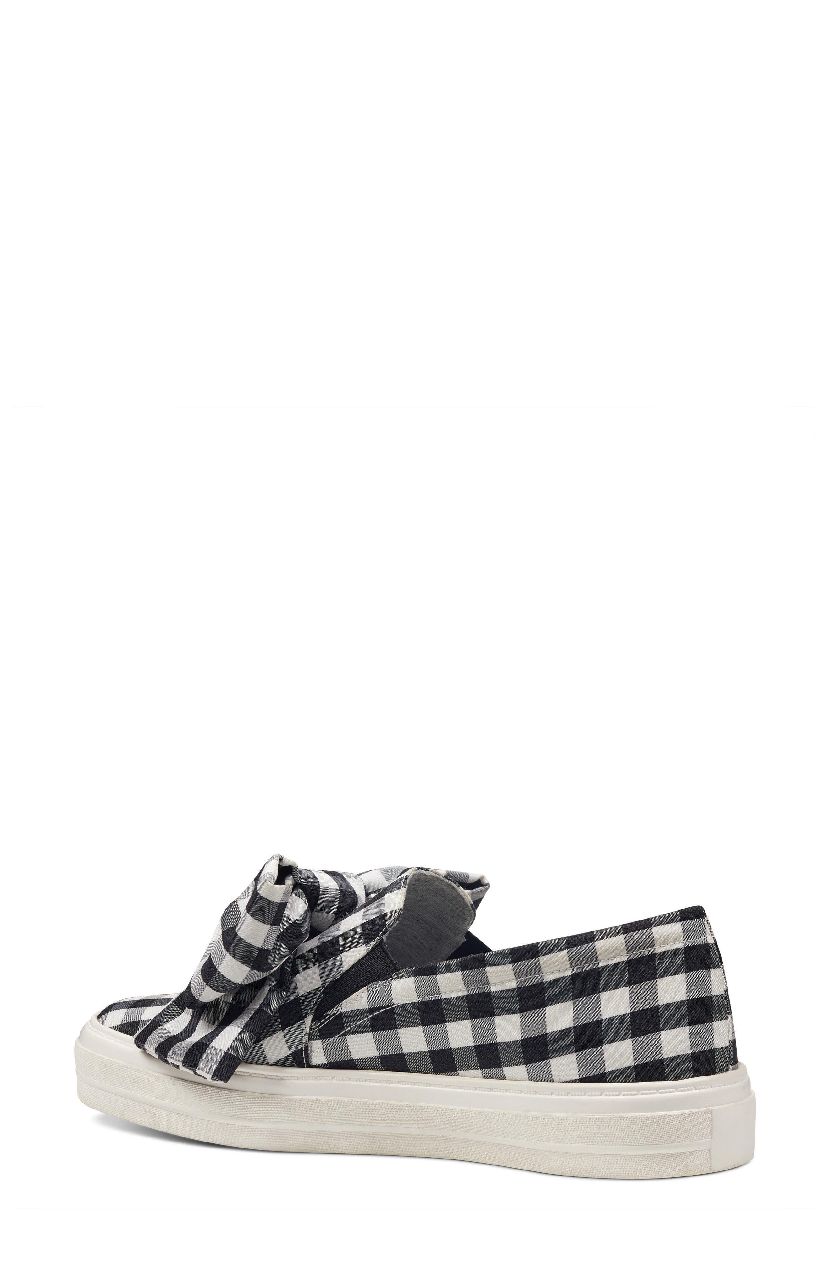 Onosha Bow Slip-On Sneaker,                             Alternate thumbnail 2, color,                             Black/ White Fabric