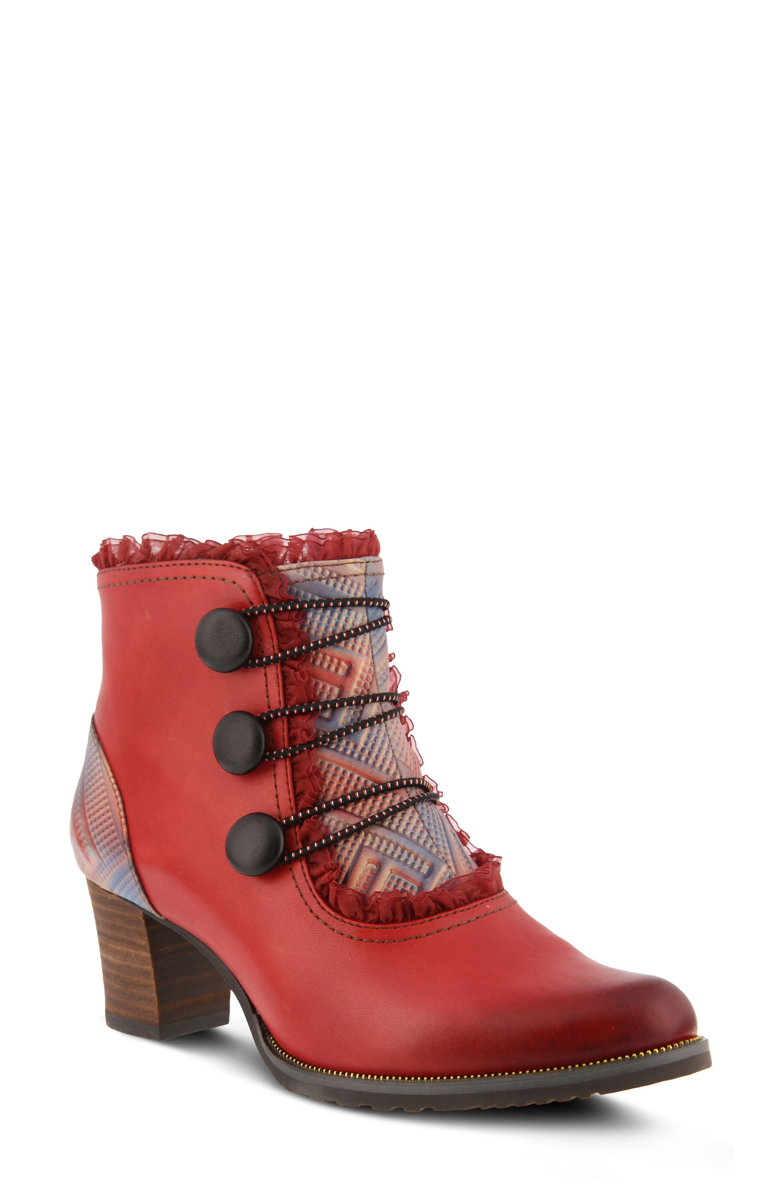 L'Artiste Conchita Boot,                             Main thumbnail 1, color,                             Red Leather