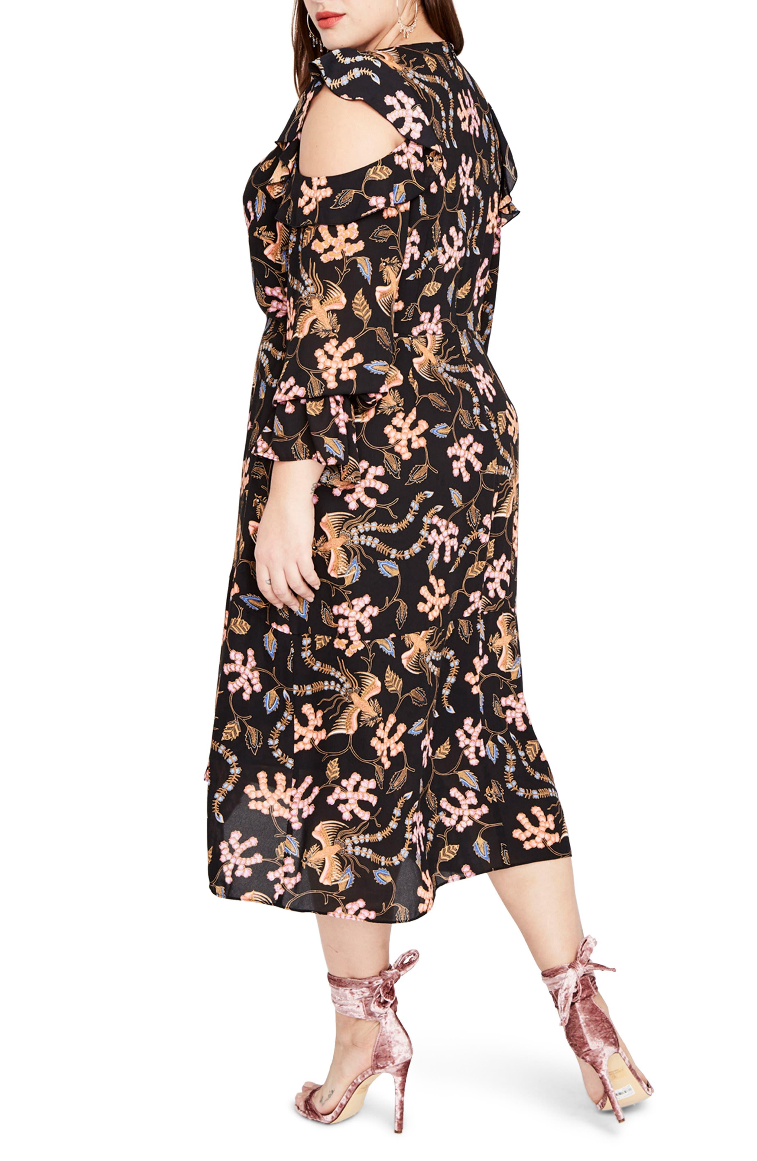RACHEL BY Rachel Roy Cold Shoulder Ruffle Midi Dress,                             Alternate thumbnail 3, color,                             Black Multi