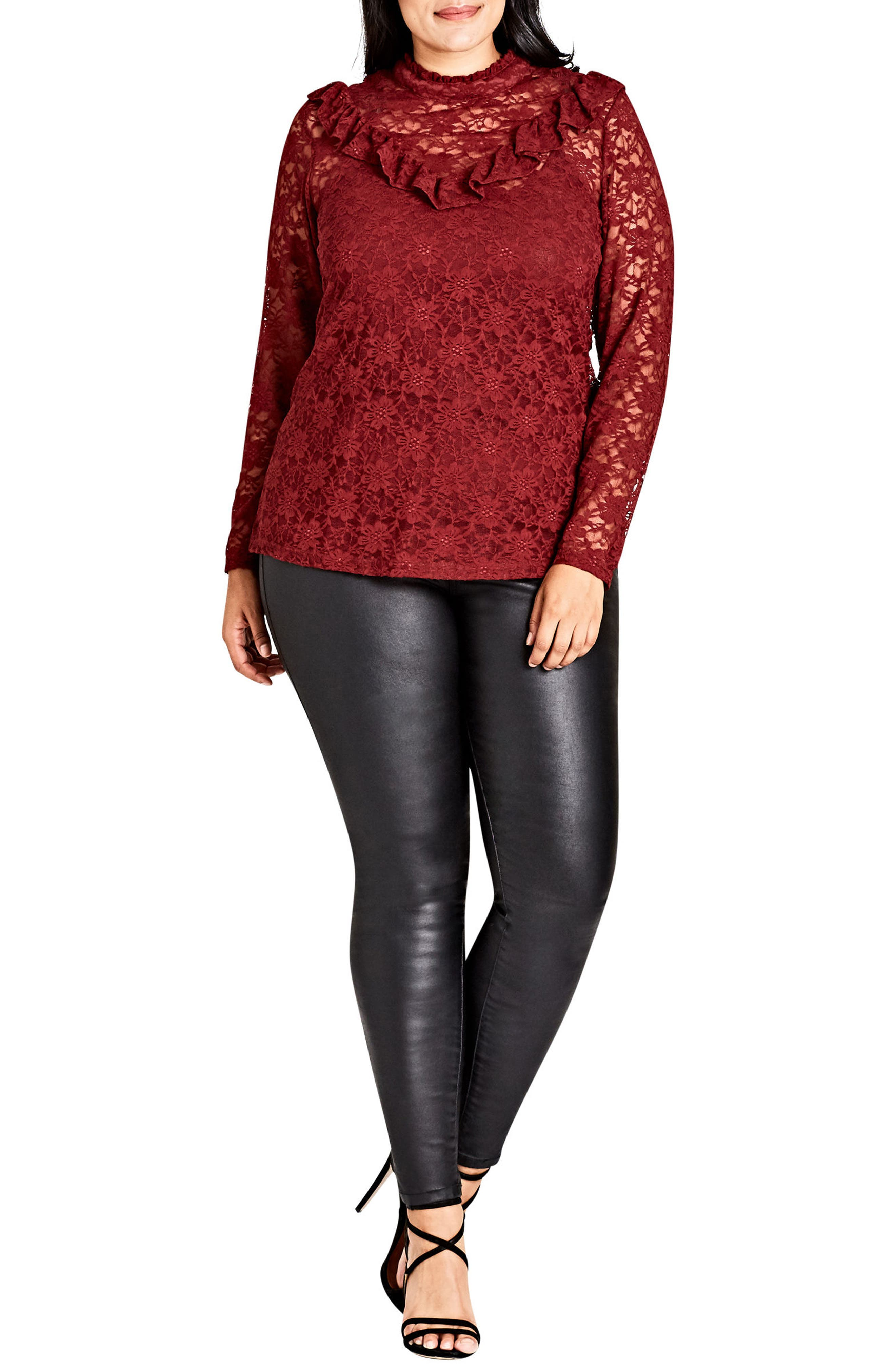 Alternate Image 1 Selected - City Chic Victorian Lace Top (Plus Size)