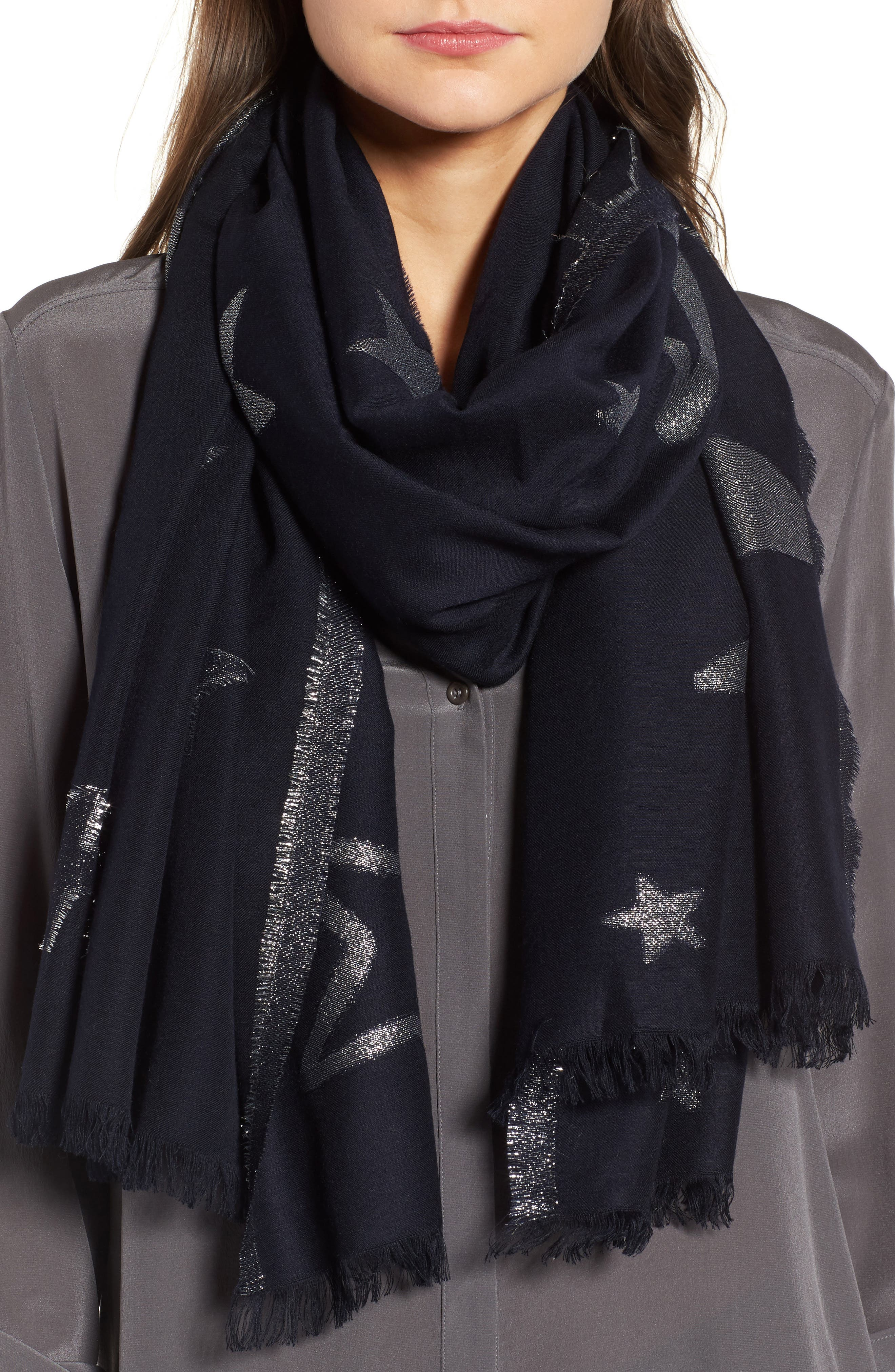 starry sky oblong scarf,                             Main thumbnail 1, color,                             Rich Navy