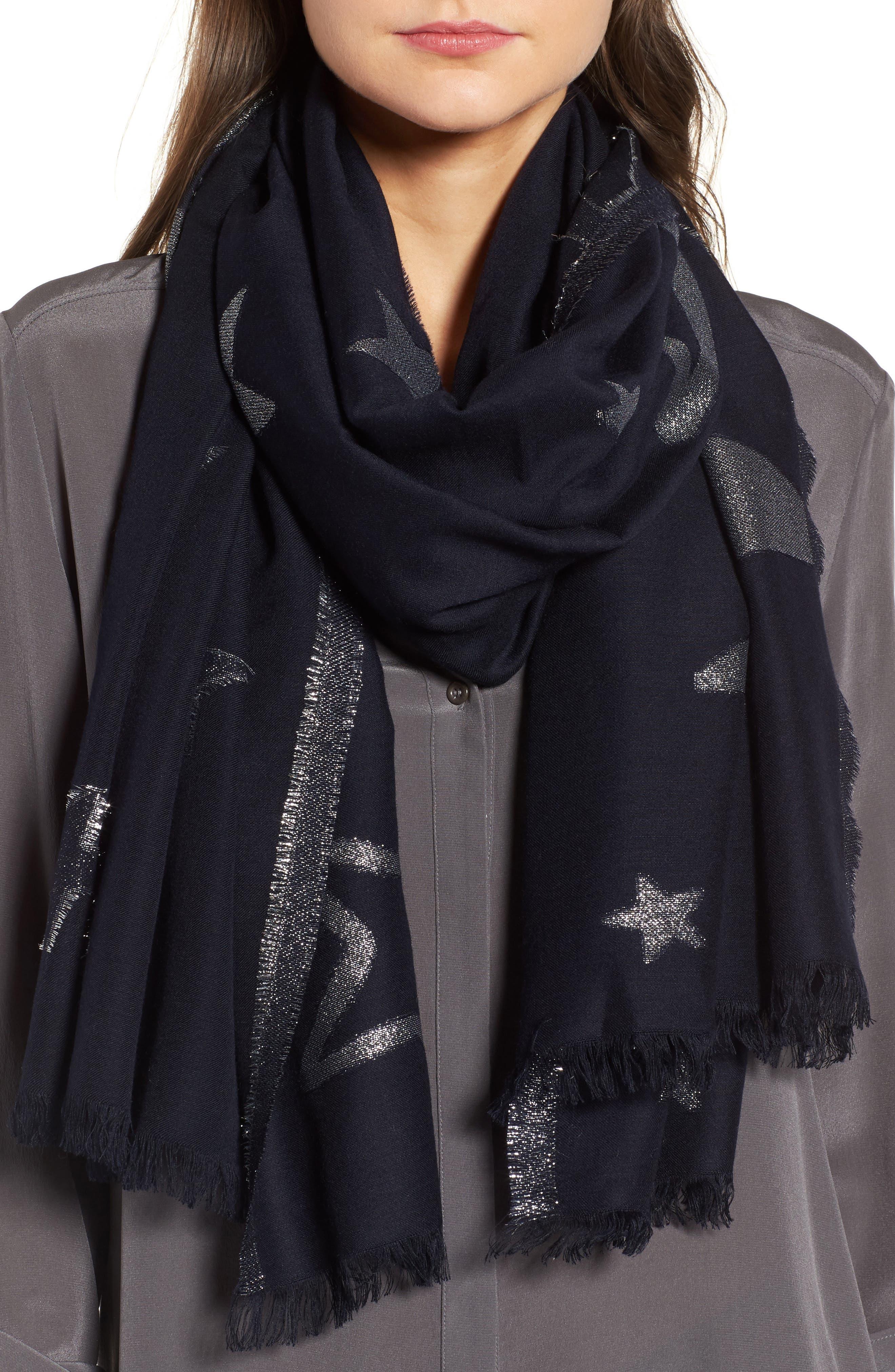 starry sky oblong scarf,                         Main,                         color, Rich Navy