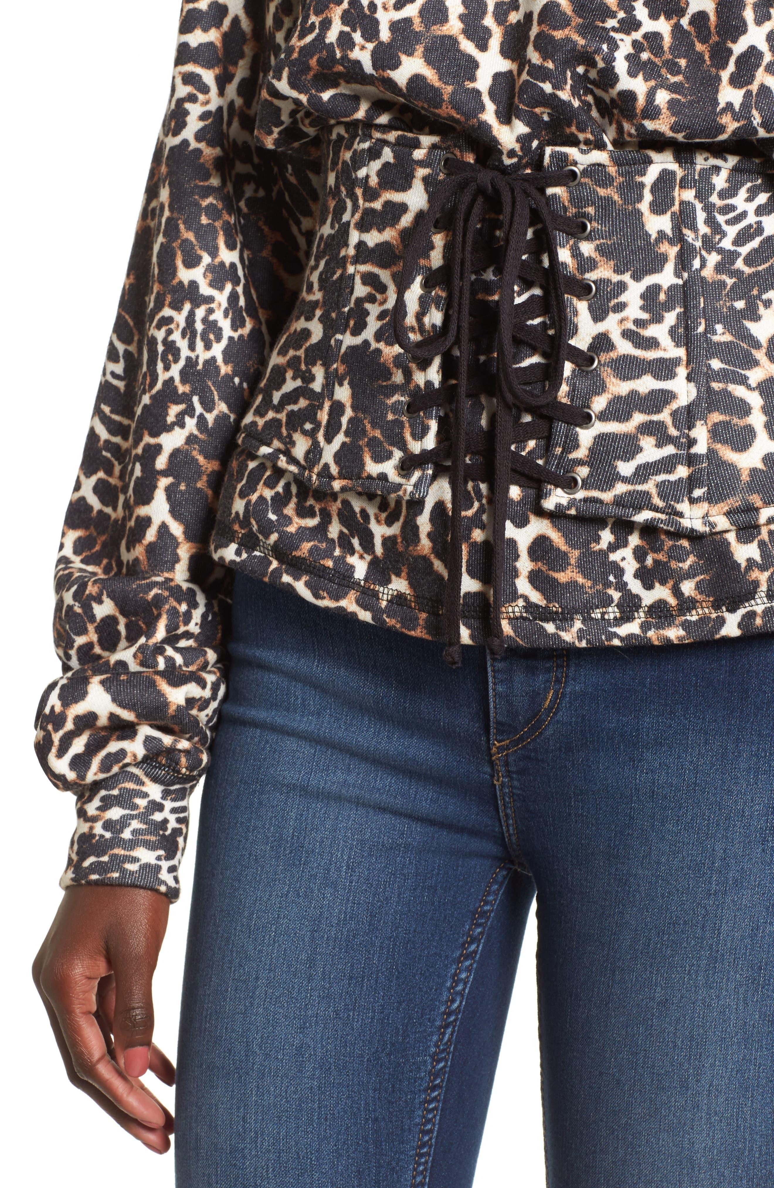 Mason Corset Sweatshirt,                             Alternate thumbnail 4, color,                             Leopard