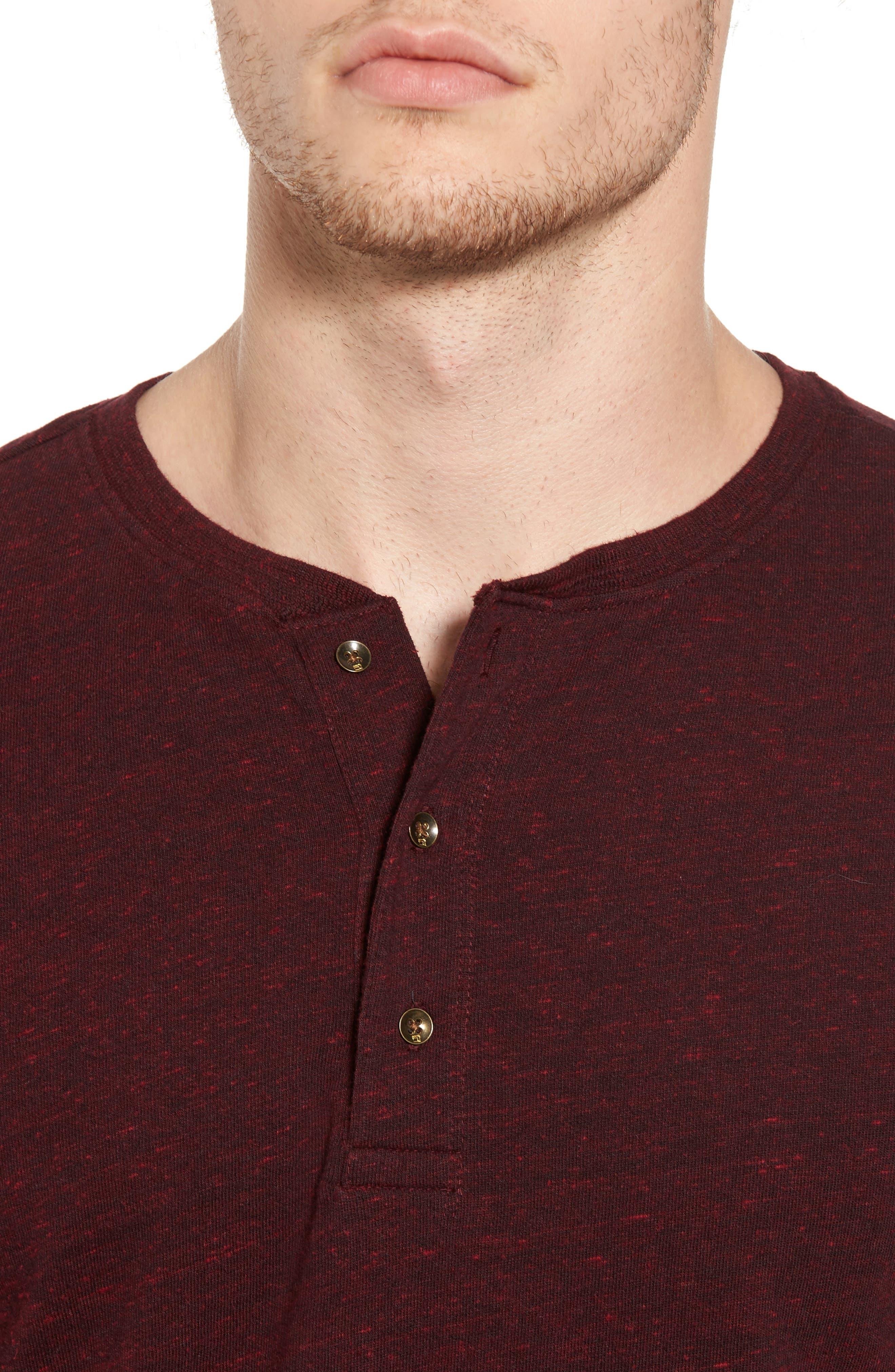 Grandad Henley T-Shirt,                             Alternate thumbnail 3, color,                             Oxblood Melange
