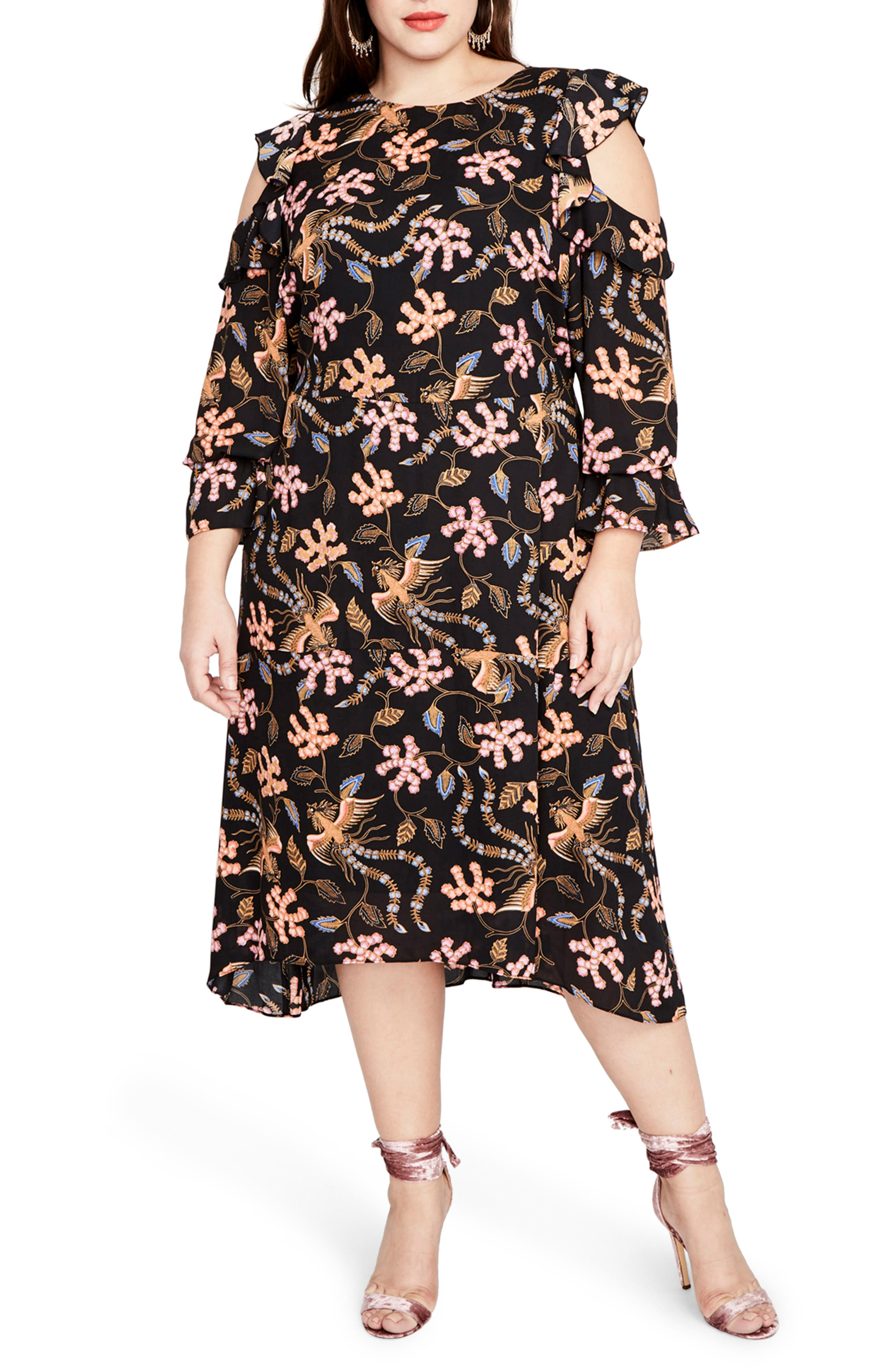RACHEL BY Rachel Roy Cold Shoulder Ruffle Midi Dress,                             Main thumbnail 1, color,                             Black Multi