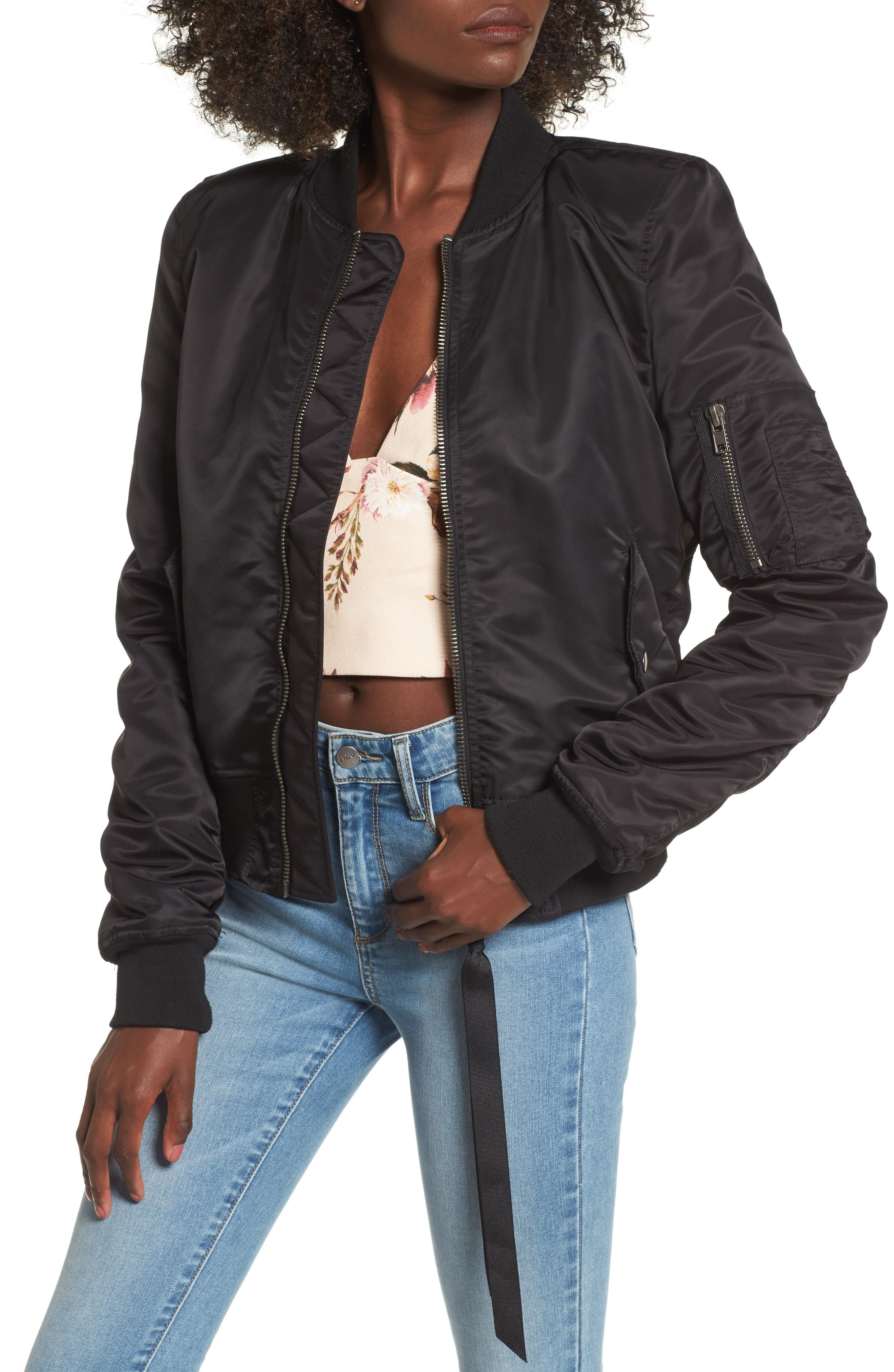 Bomber Jacket,                         Main,                         color, Noir