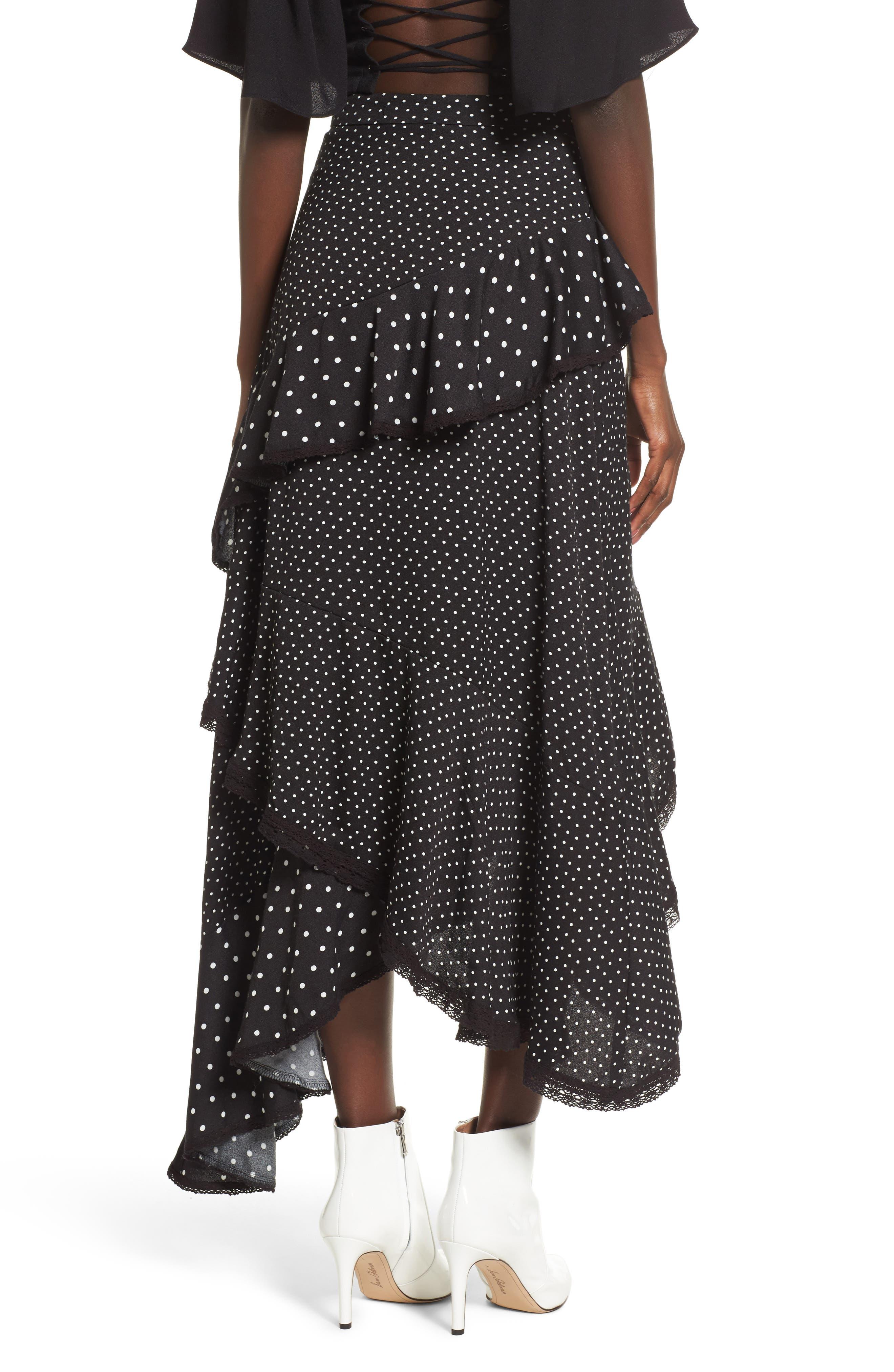 Grace Asymmetrical Ruffle Skirt,                             Alternate thumbnail 2, color,                             Noir Polka Dot