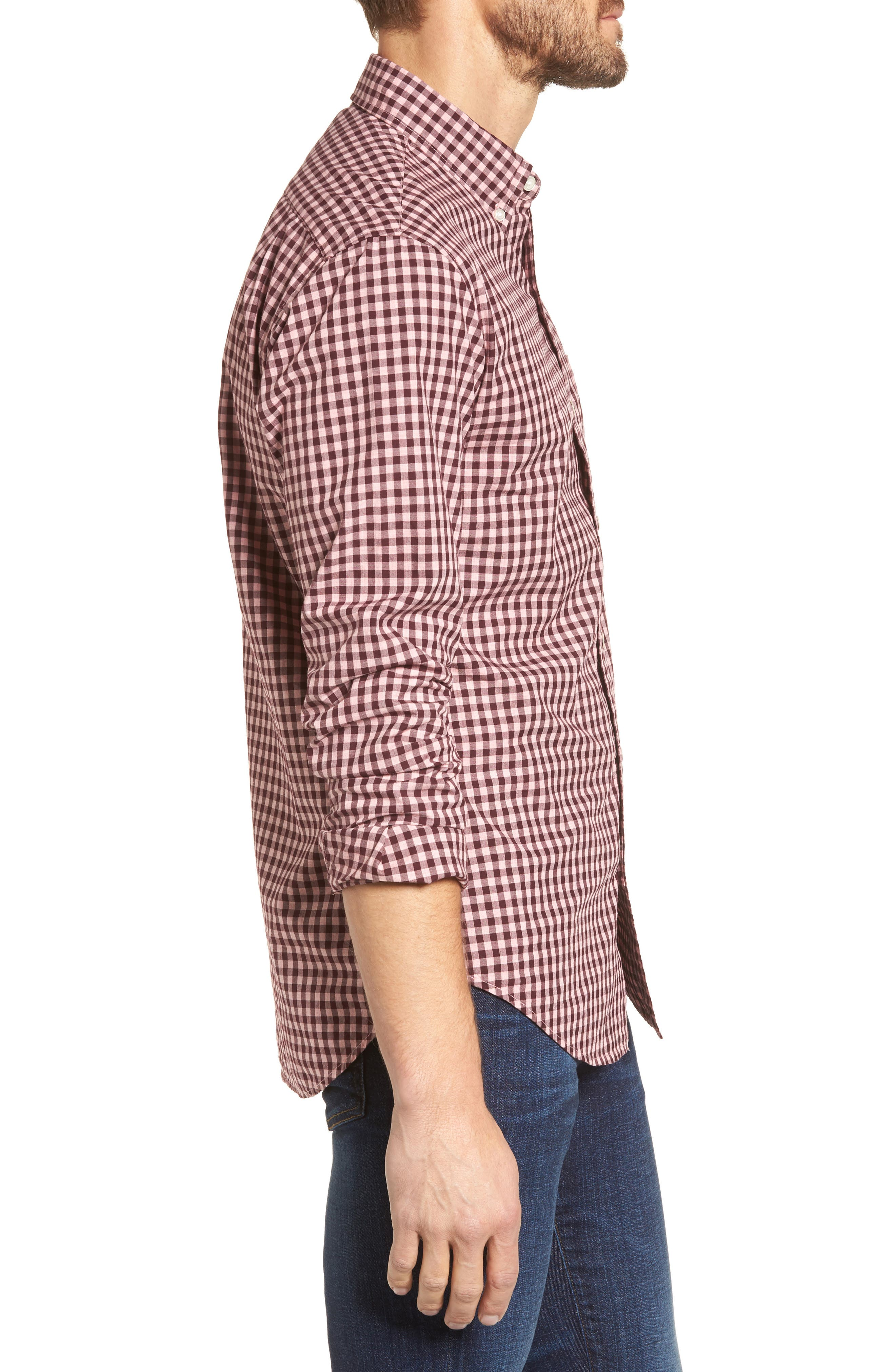 Slim Fit Washed Ombré Check Sport Shirt,                             Alternate thumbnail 3, color,                             Heather Pink Gingham