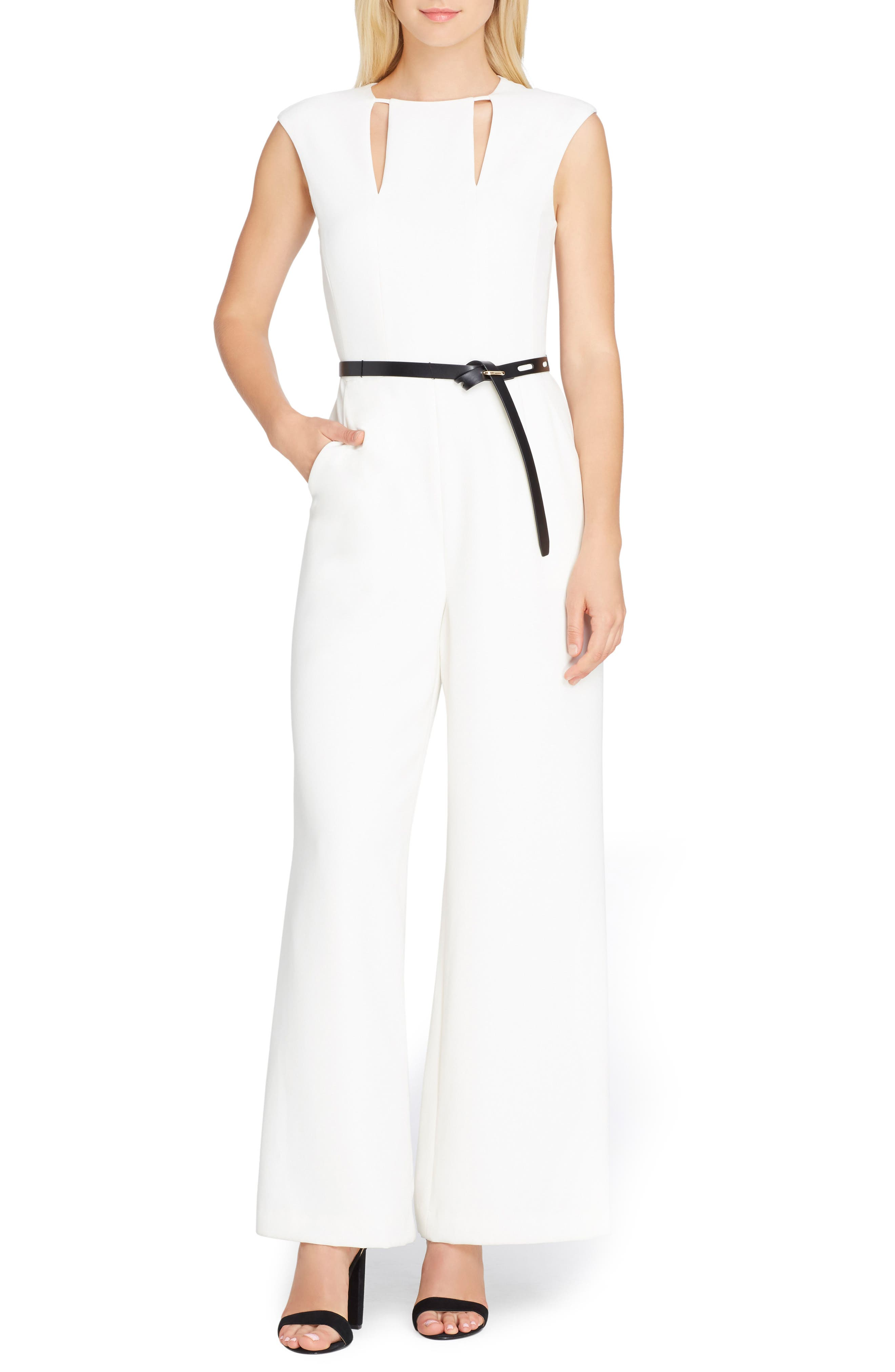 Cutout Jumpsuit,                         Main,                         color, Ivory White