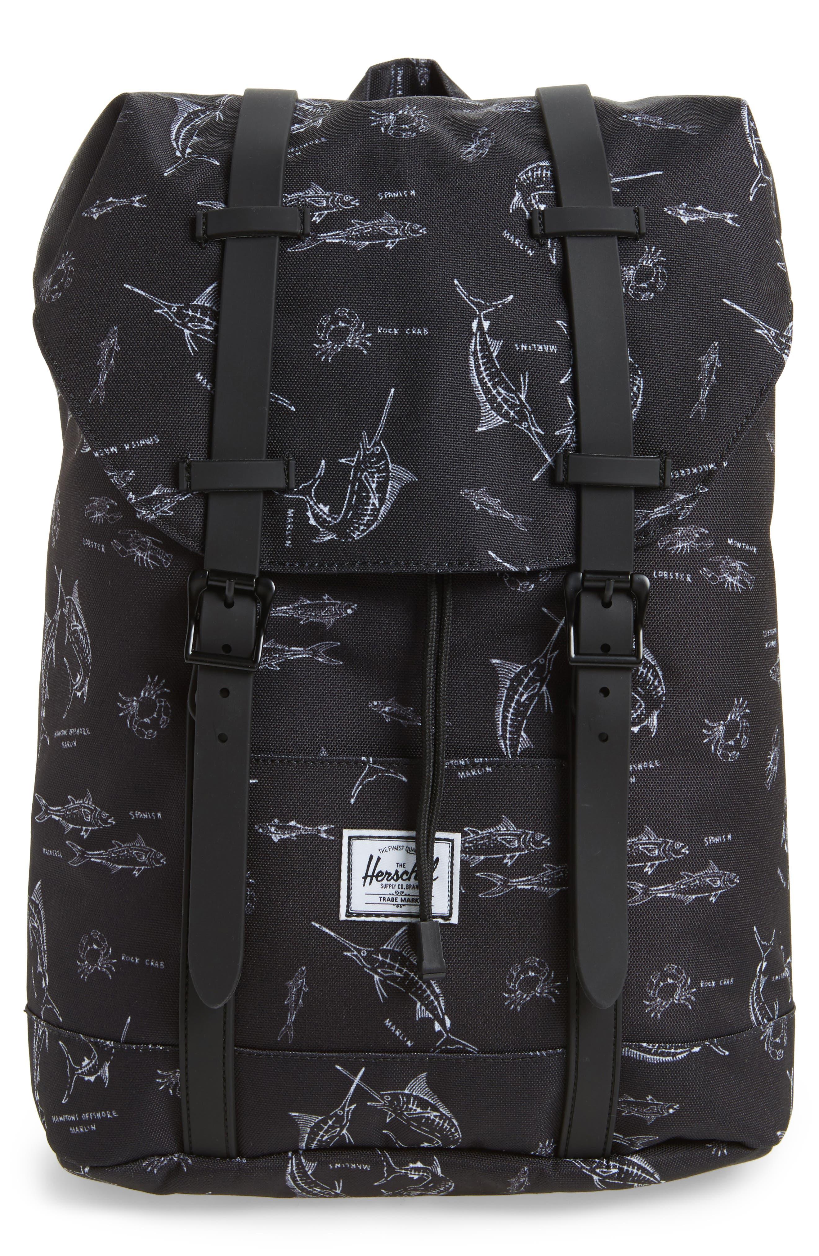 Retreat Fish Print Backpack,                             Main thumbnail 1, color,                             Saltwater/ Black Rubber
