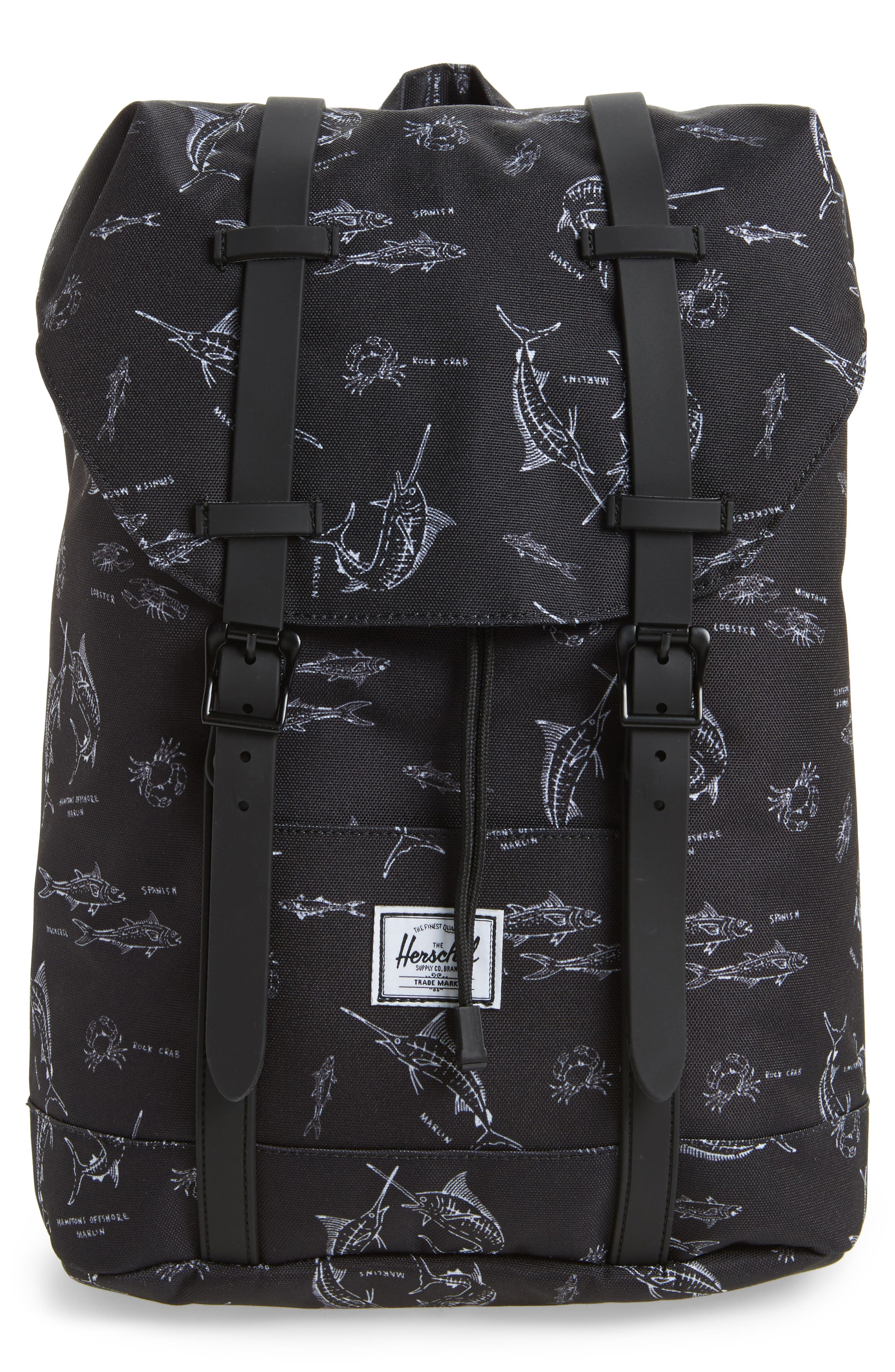 Retreat Fish Print Backpack,                         Main,                         color, Saltwater/ Black Rubber
