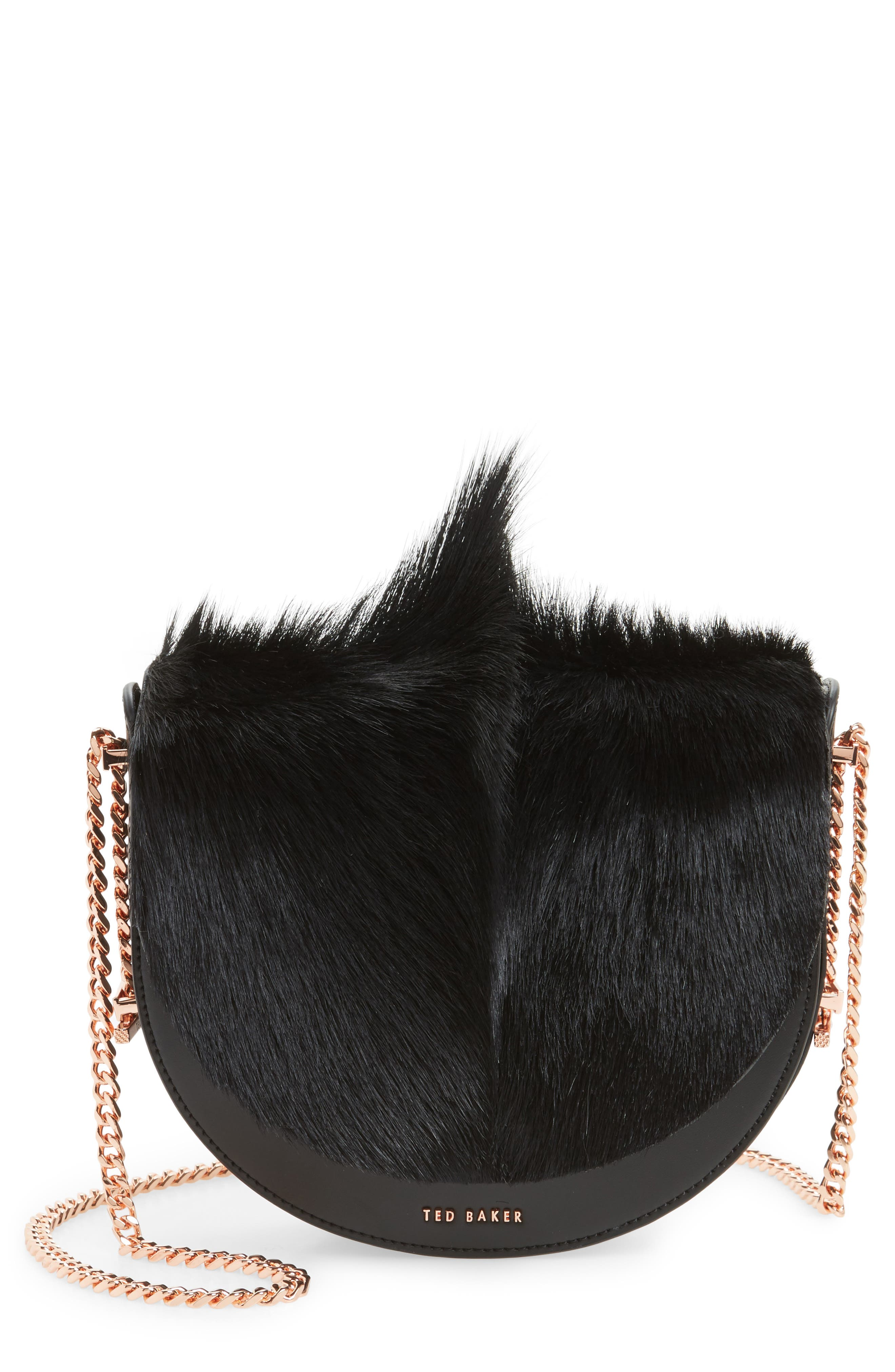Alisonn Leather & Genuine Springbok Fur Saddle Bag,                             Main thumbnail 1, color,                             Black