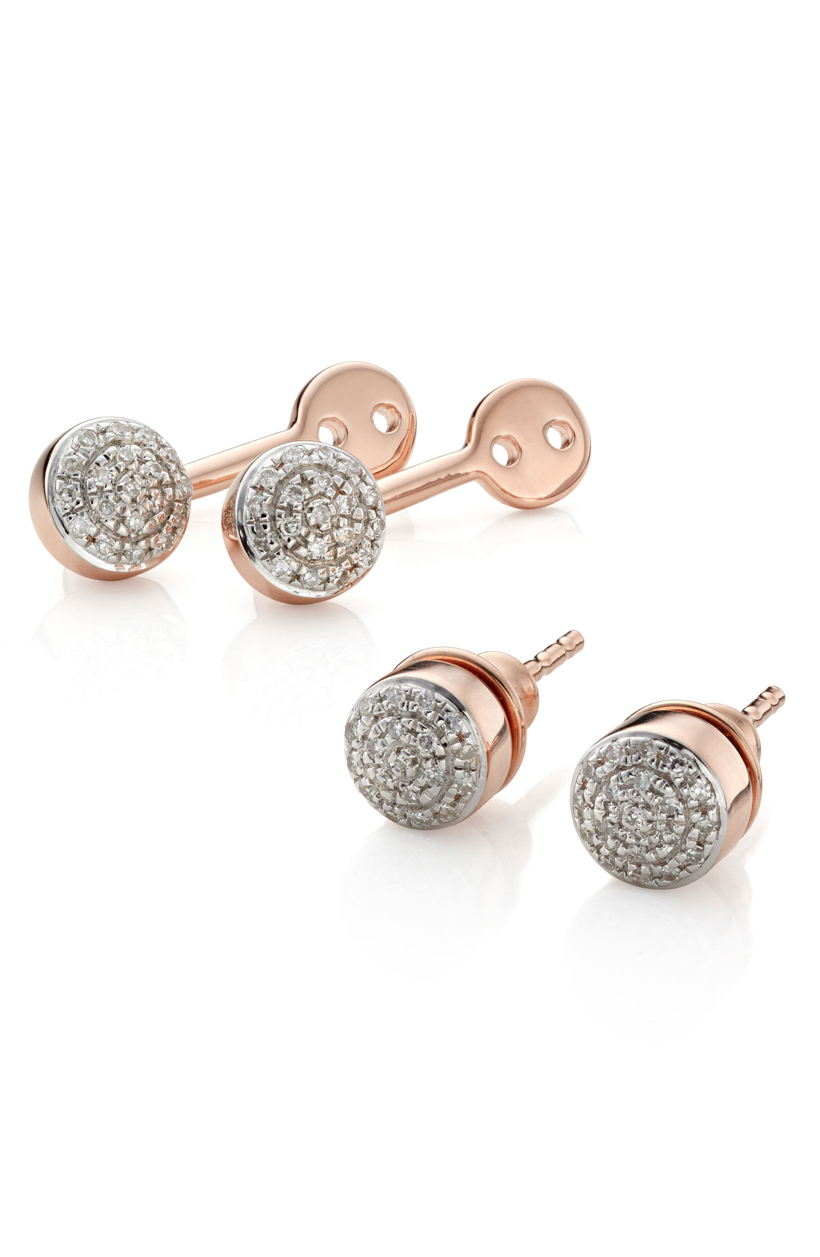 Fiji Diamond Button Ear Jackets,                             Alternate thumbnail 4, color,                             Rose Gold