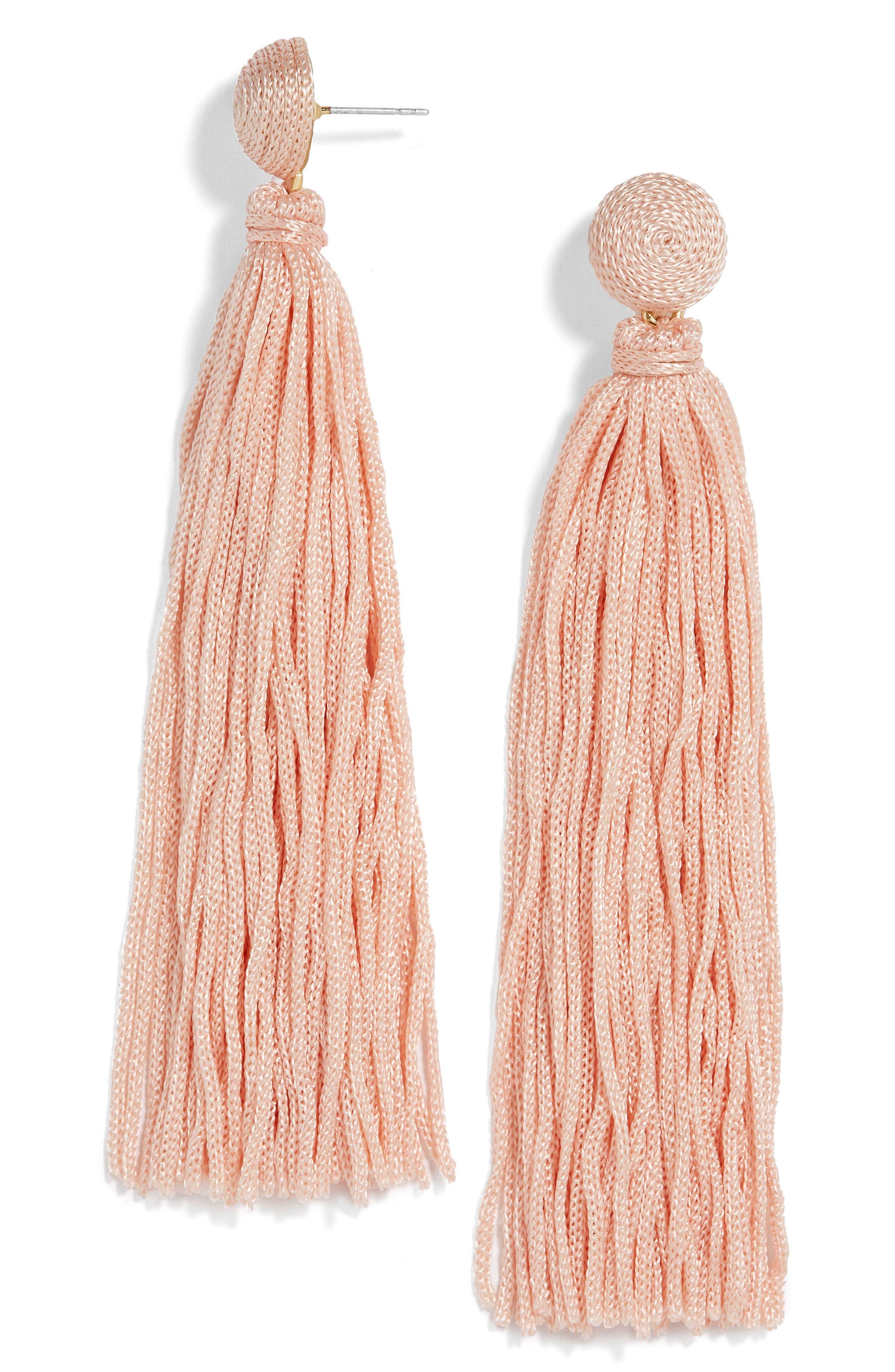 Valencia Shoulder Duster Tassel Earrings,                         Main,                         color, Blush