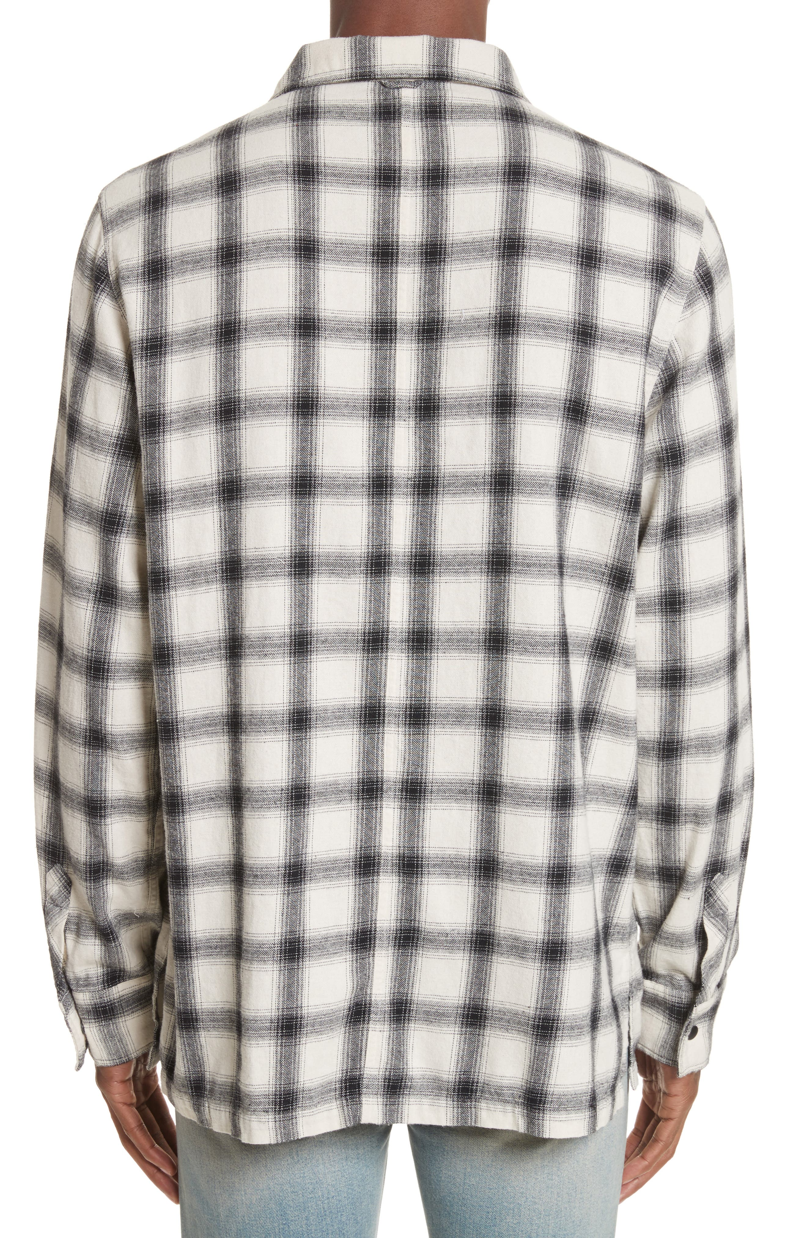 Oversize Plaid Military Shirt,                             Alternate thumbnail 3, color,                             White/ Black