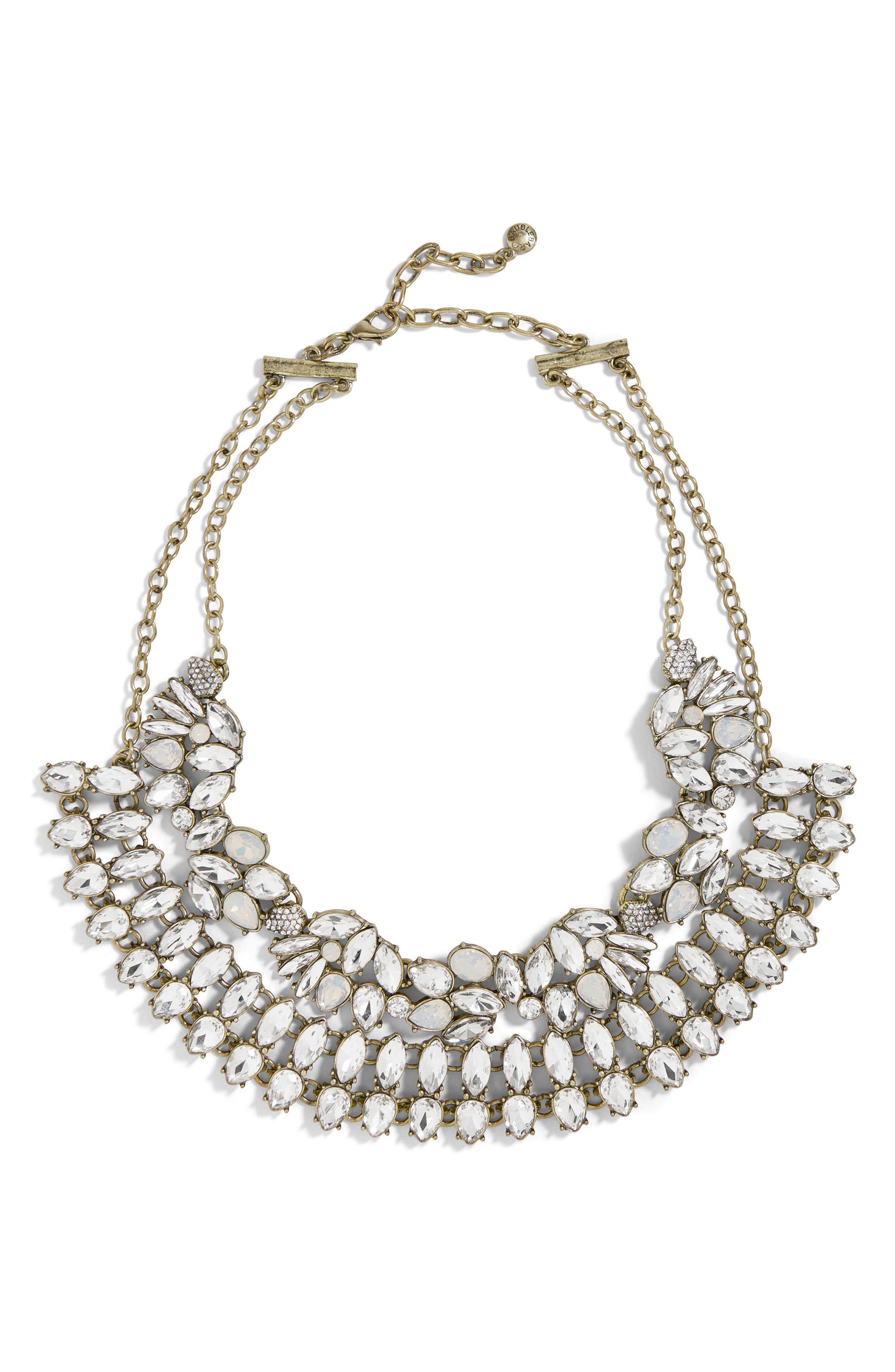 Evangeline Crystal Statement Necklace,                         Main,                         color, Silver