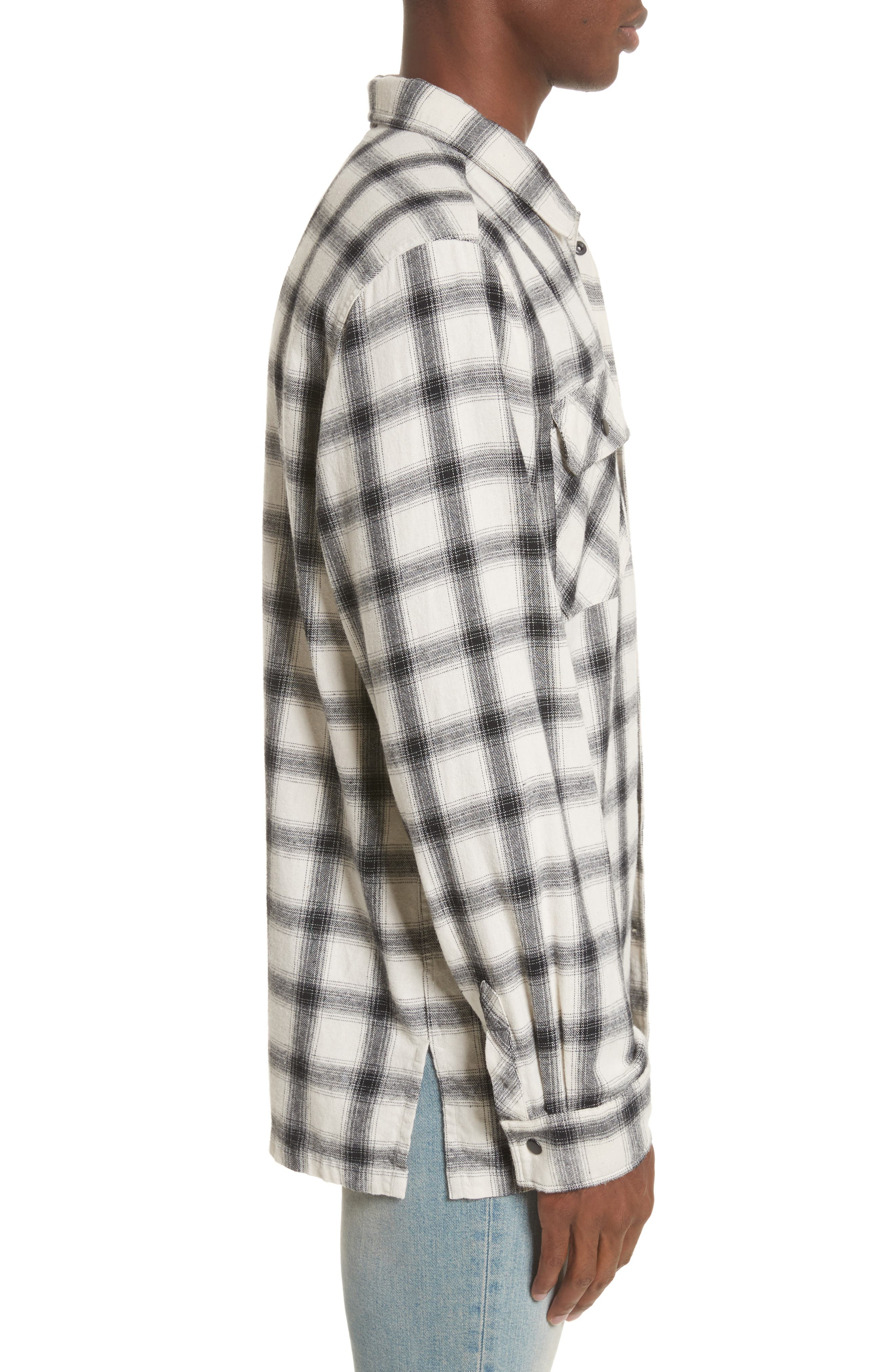 Oversize Plaid Military Shirt,                             Alternate thumbnail 4, color,                             White/ Black