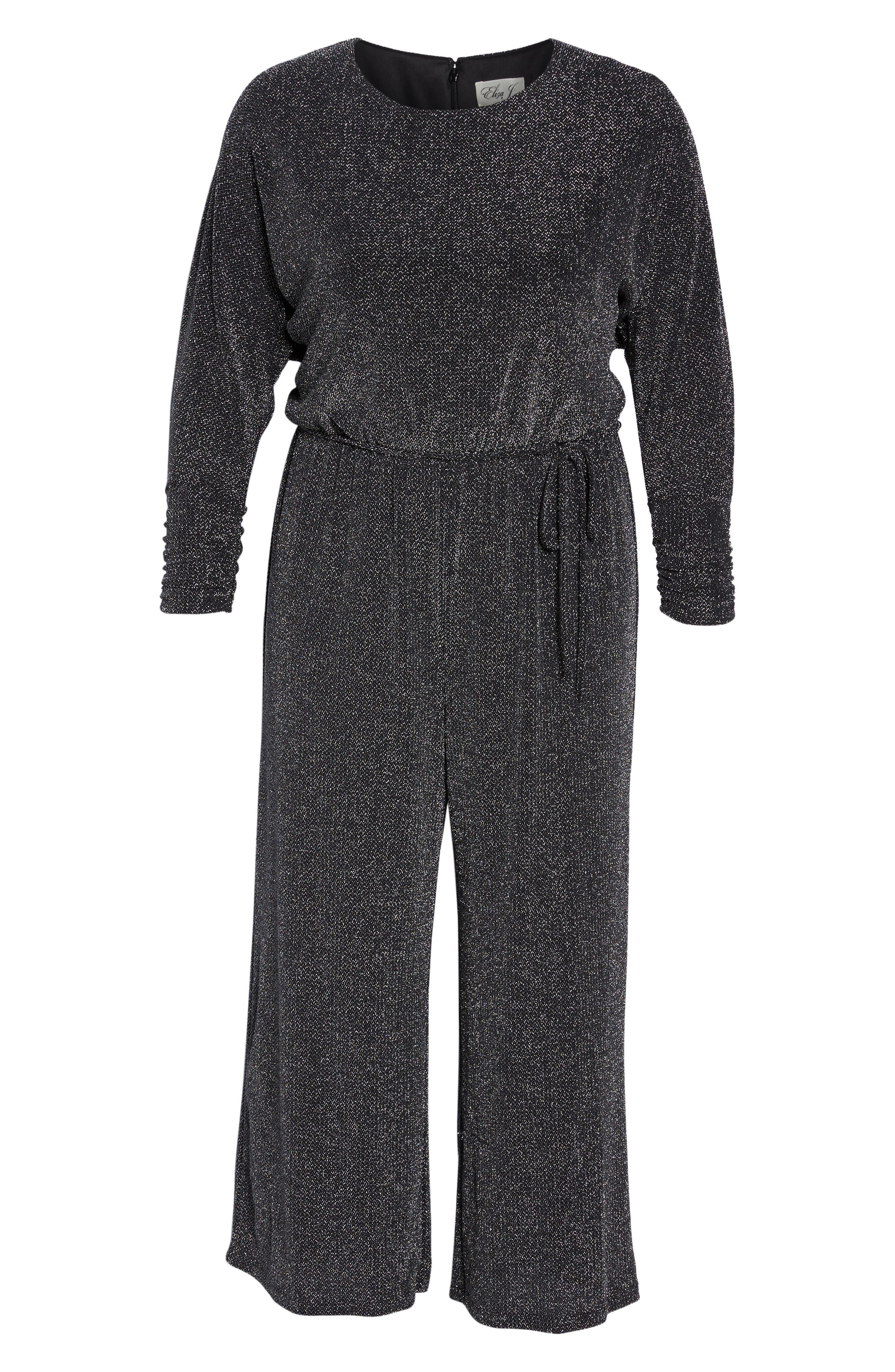 Metallic Knit Jumpsuit,                             Alternate thumbnail 6, color,                             Black/ Silver