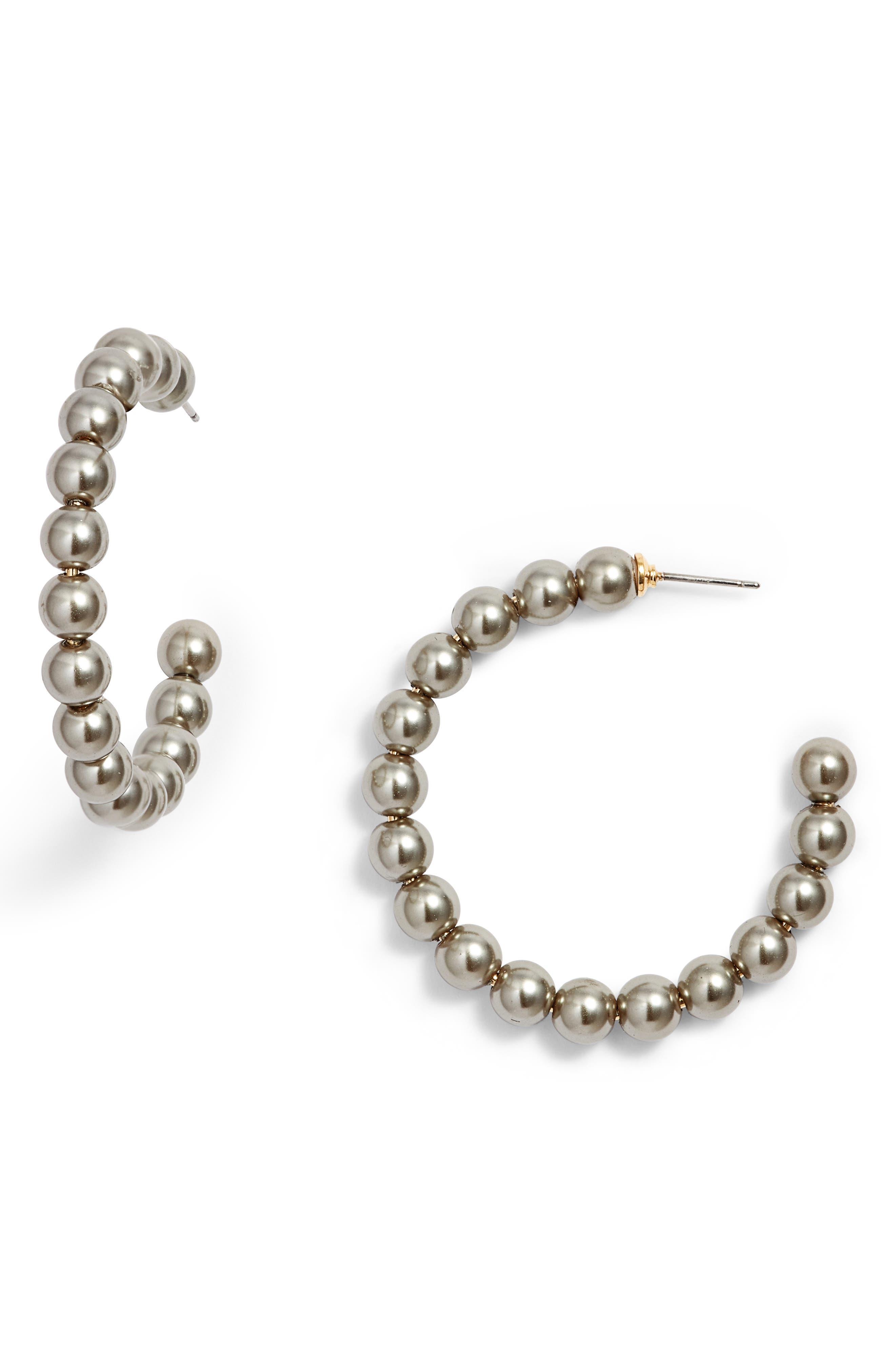 Confetti Imitation Pearl Hoops,                         Main,                         color, Black Pearl
