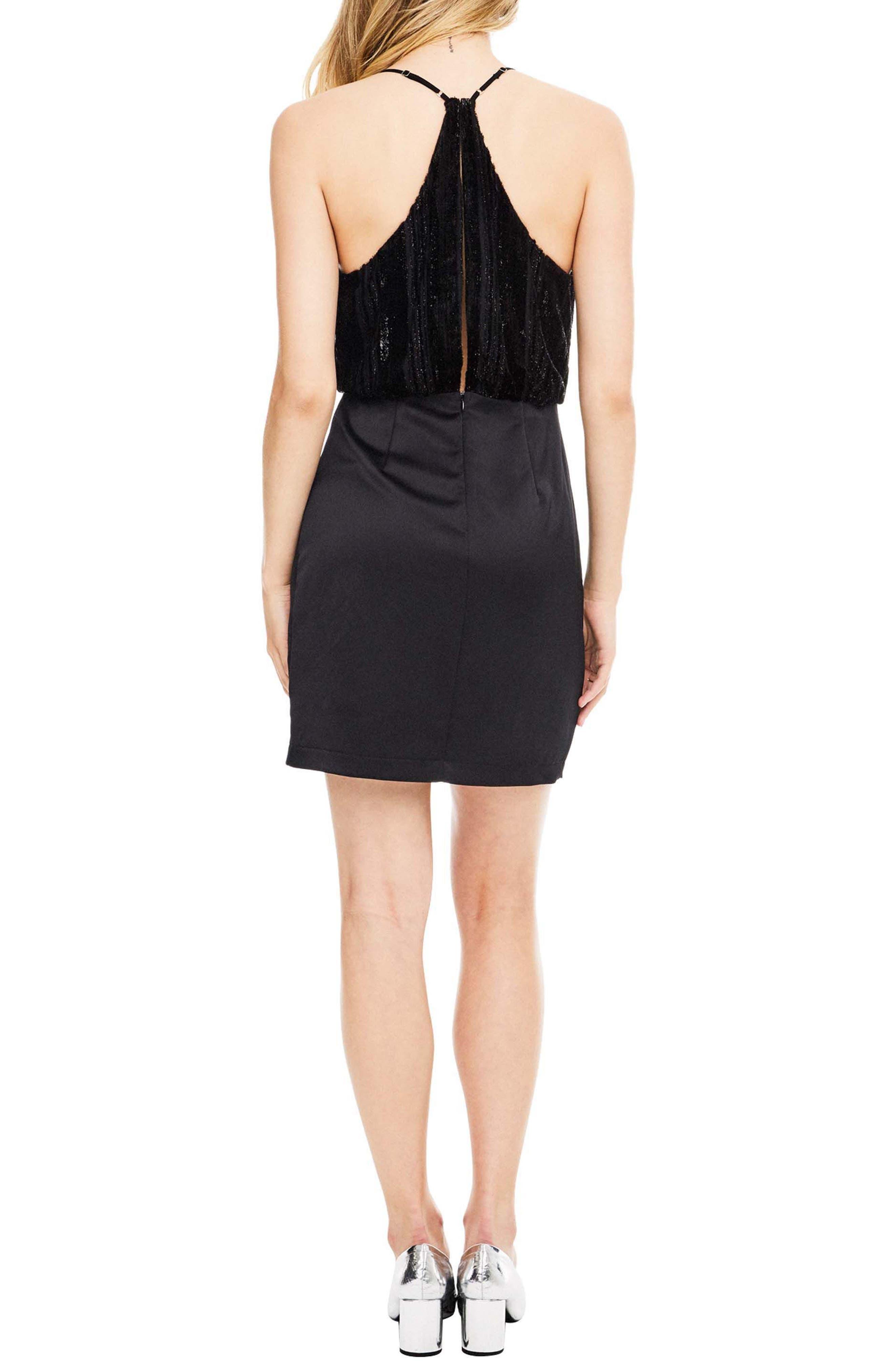 Callie Dress,                             Alternate thumbnail 2, color,                             Black Velvet Stripe