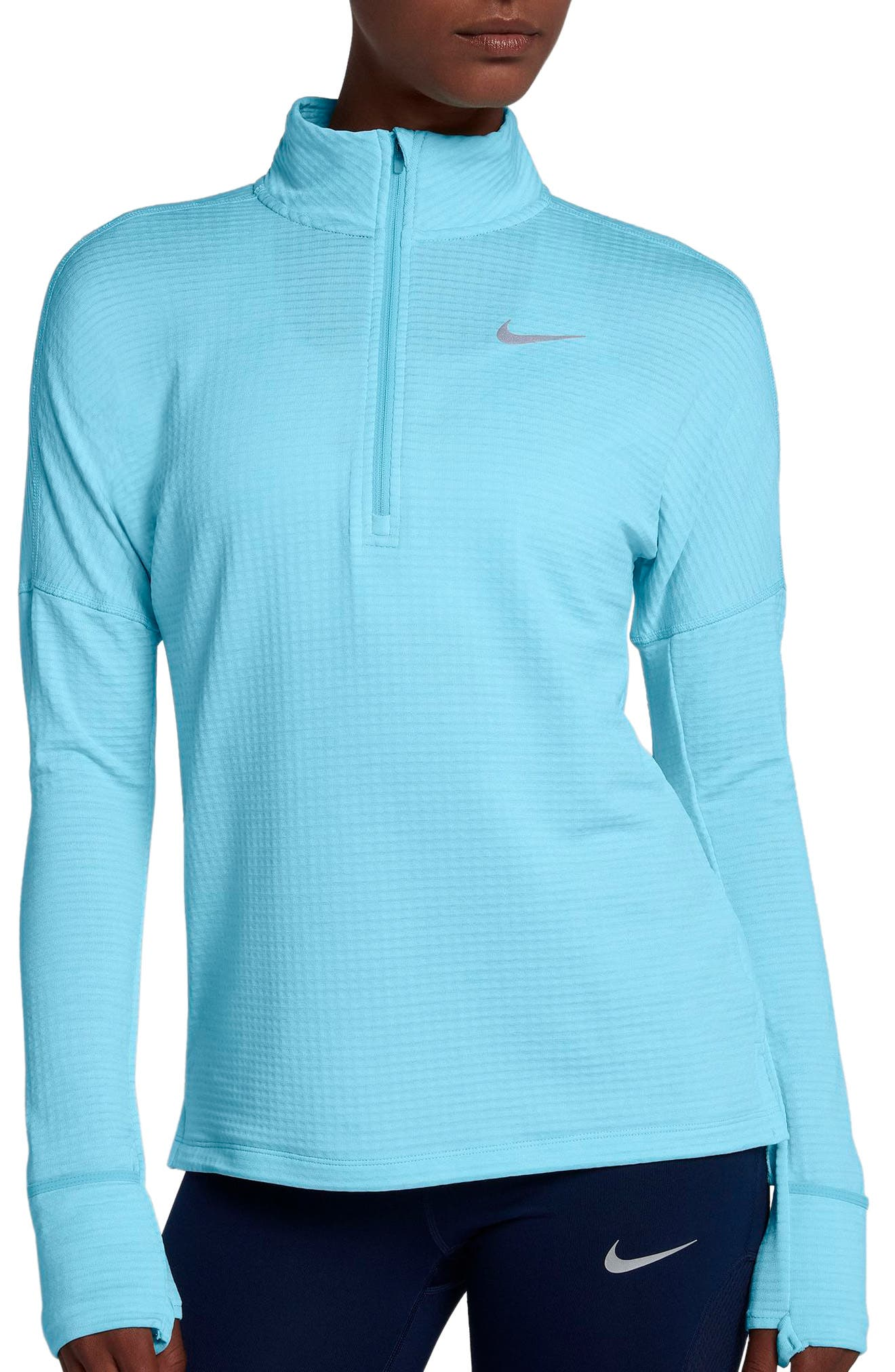 Therma Sphere Element Running Pullover Top,                             Main thumbnail 1, color,                             Polarized Blue/ Htr
