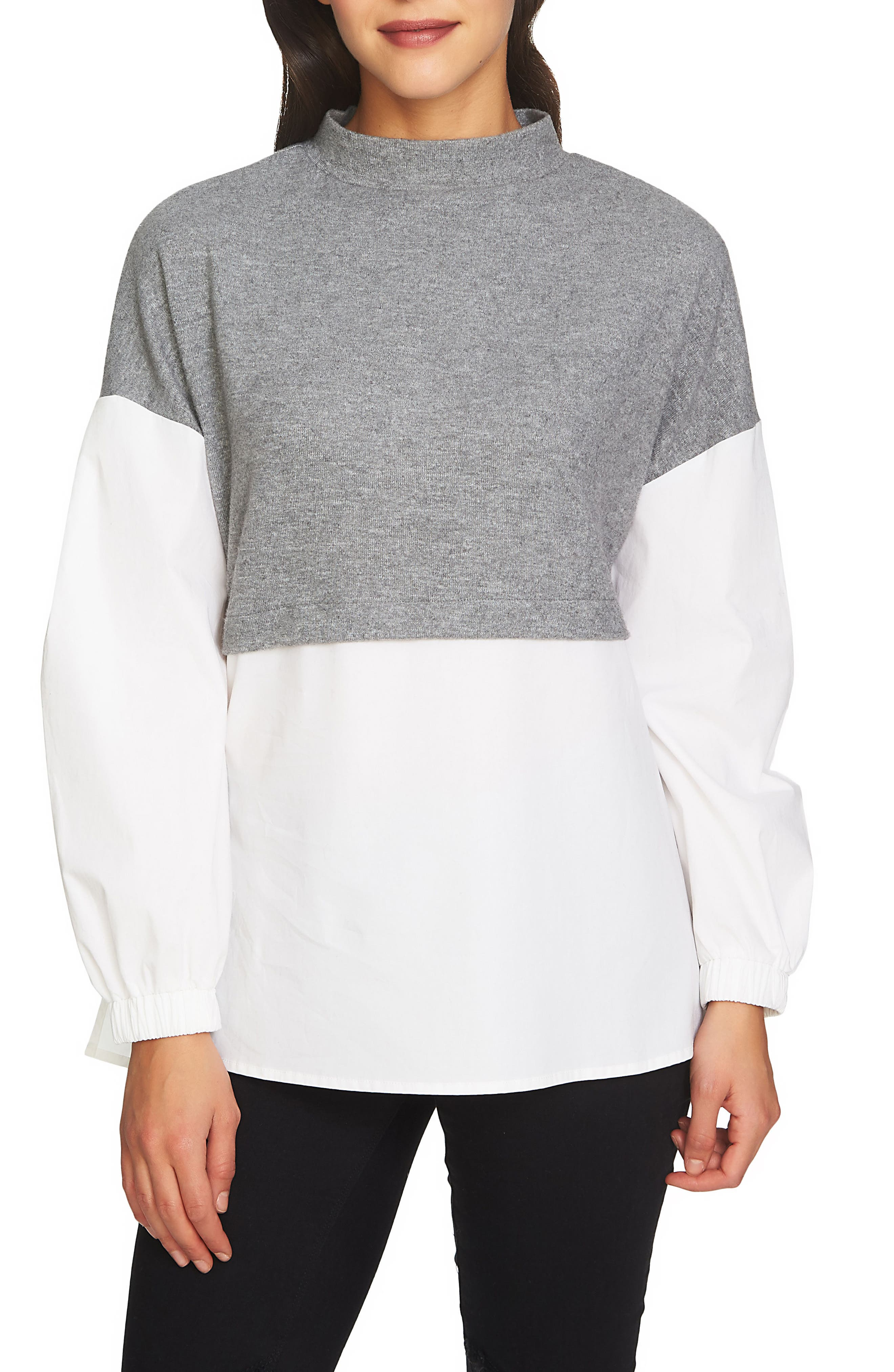 1.STATE The Cozy Mixed Media Top