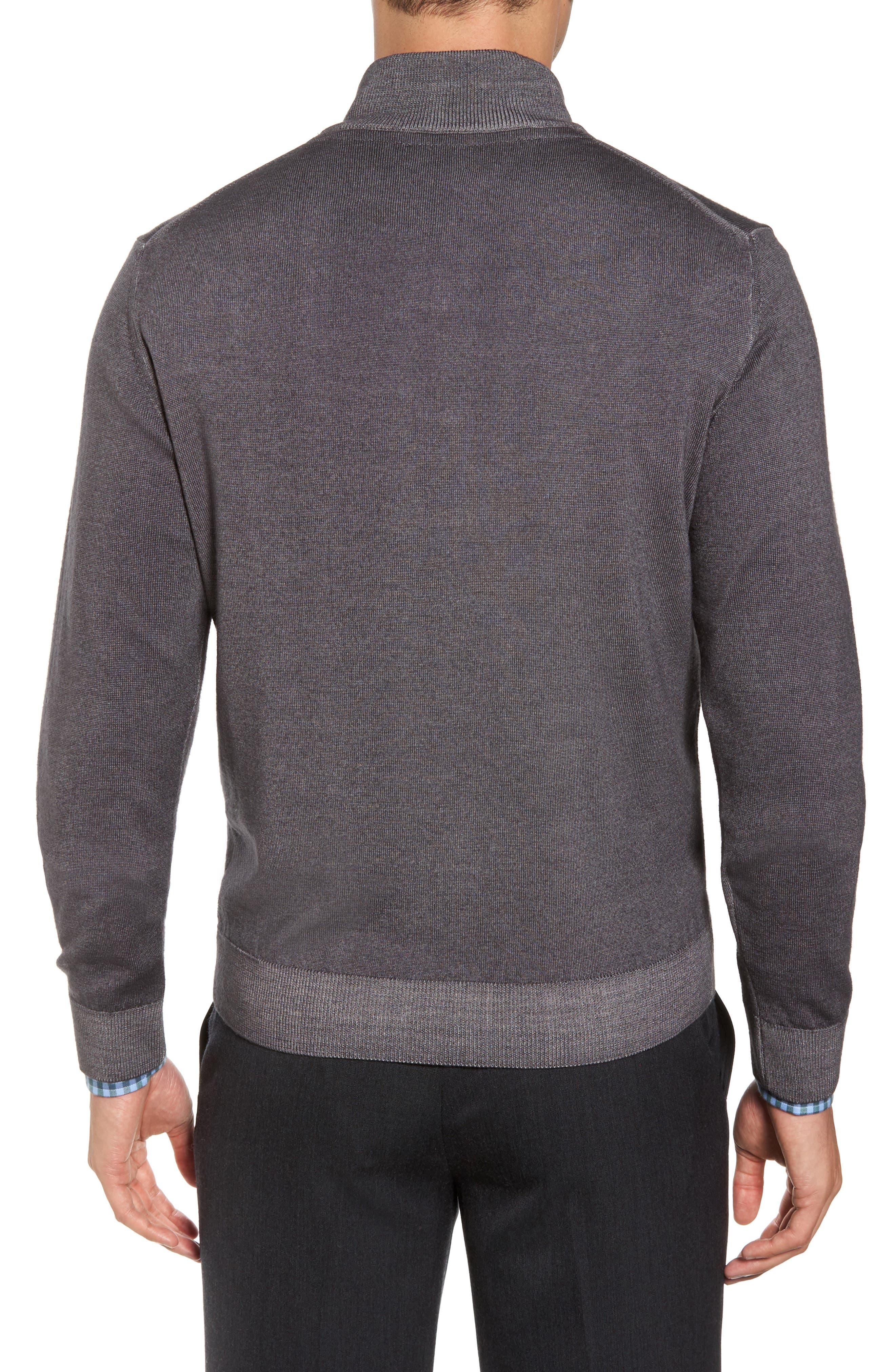 Alternate Image 2  - David Donahue Ice Merino Wool Quarter Zip Pullover