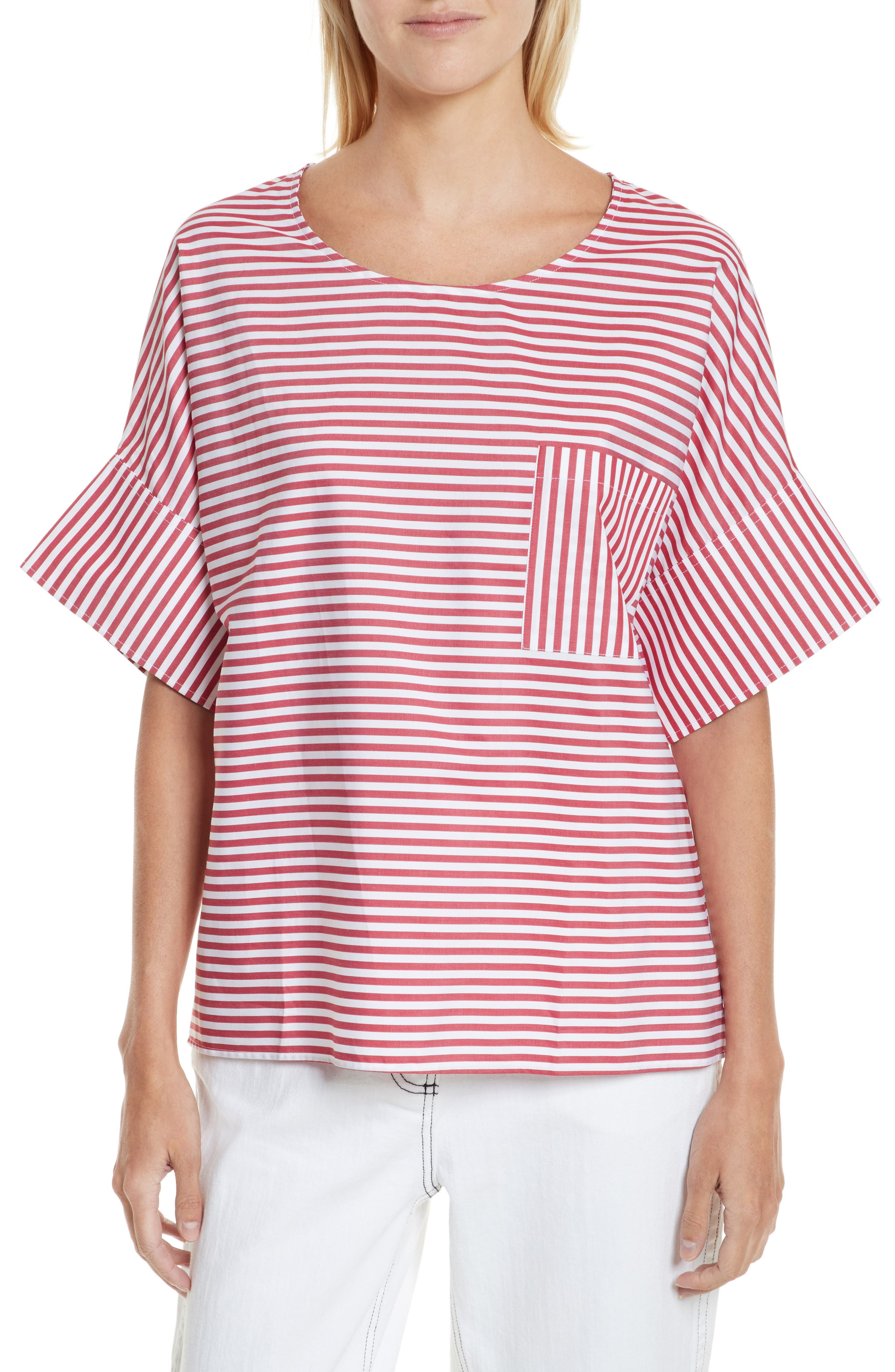 Amos Stripe Top,                         Main,                         color, Red Stripe
