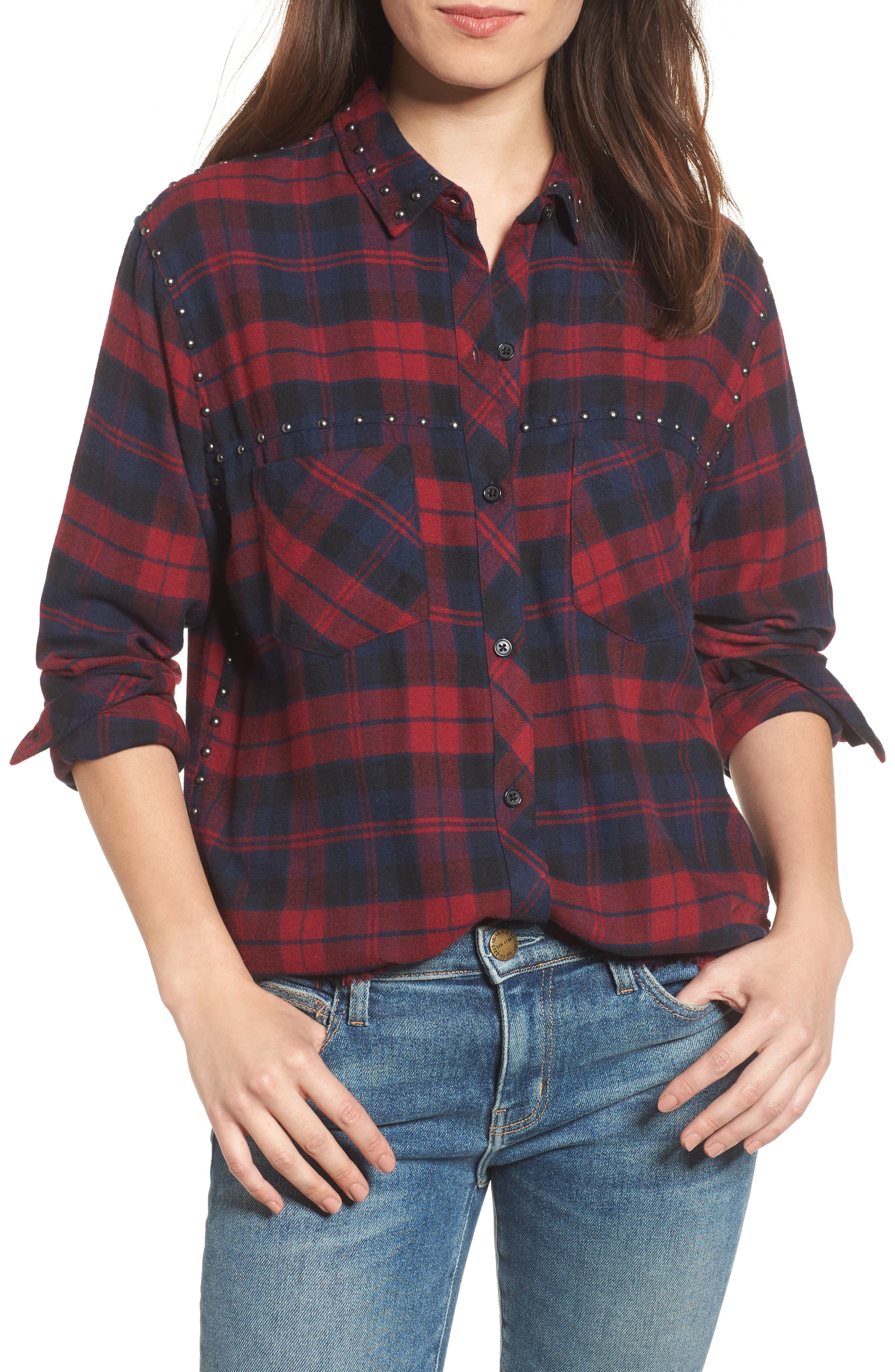 Rex Studded Plaid Shirt,                         Main,                         color, Scarlet/ Navy/ Coal